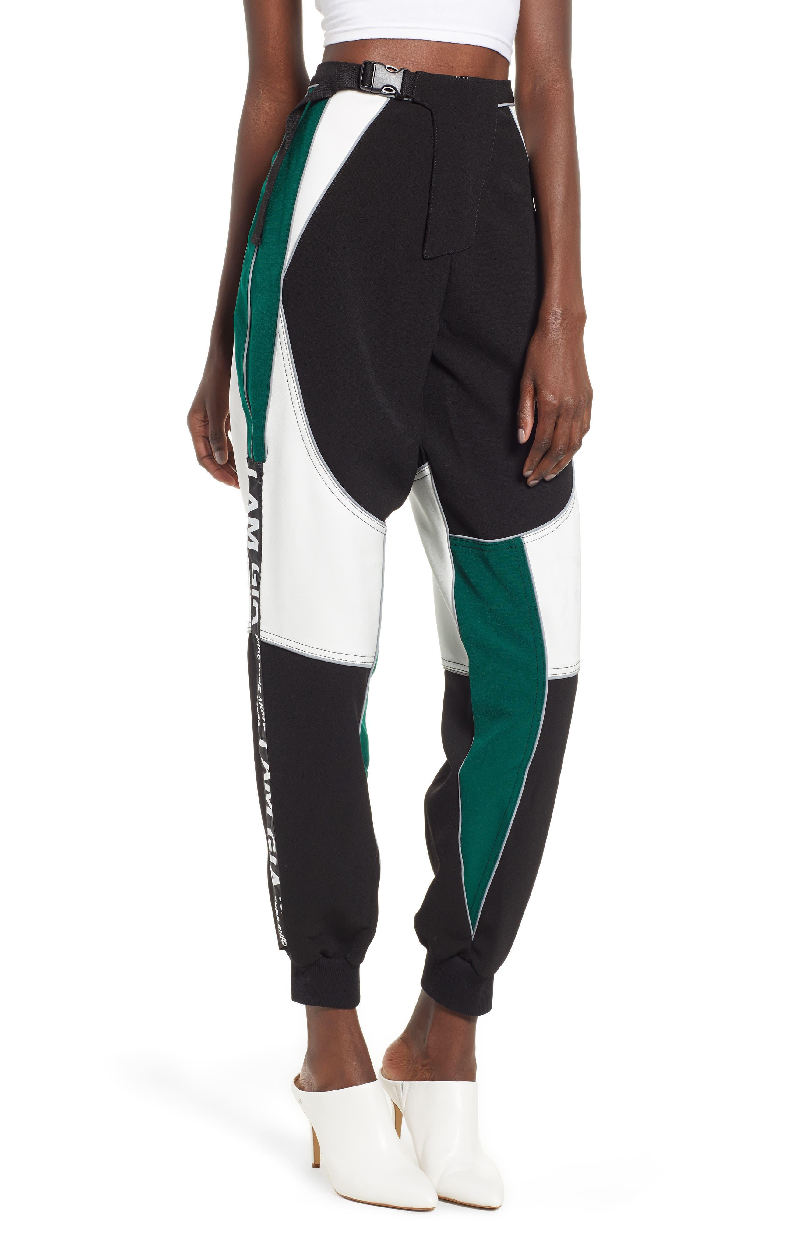 I.AM.GIA Electra Pants,                             Main thumbnail 1, color,                             BLACK/ GREEN