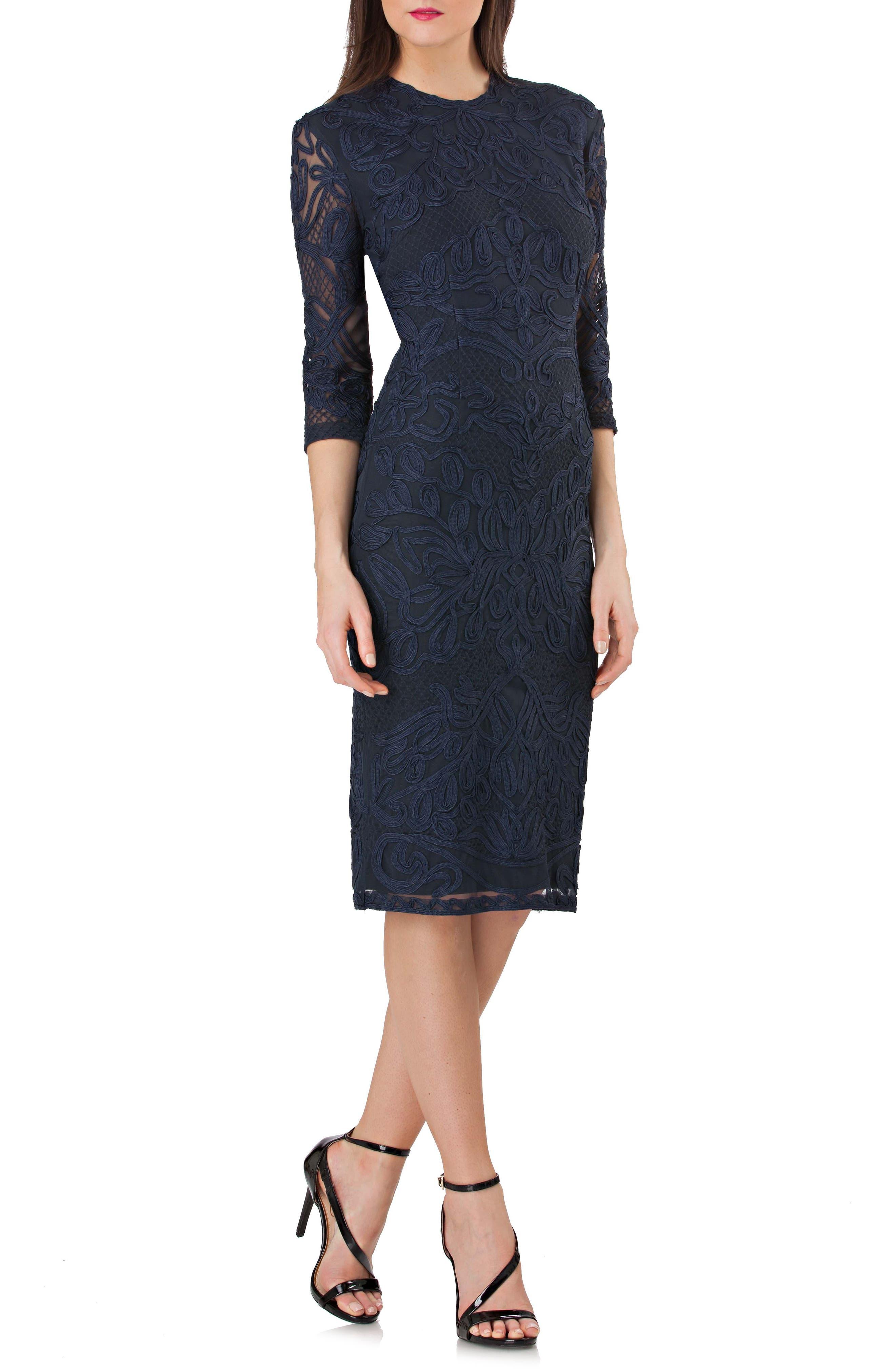 Soutache Sheath Dress,                         Main,                         color, MIDNIGHT