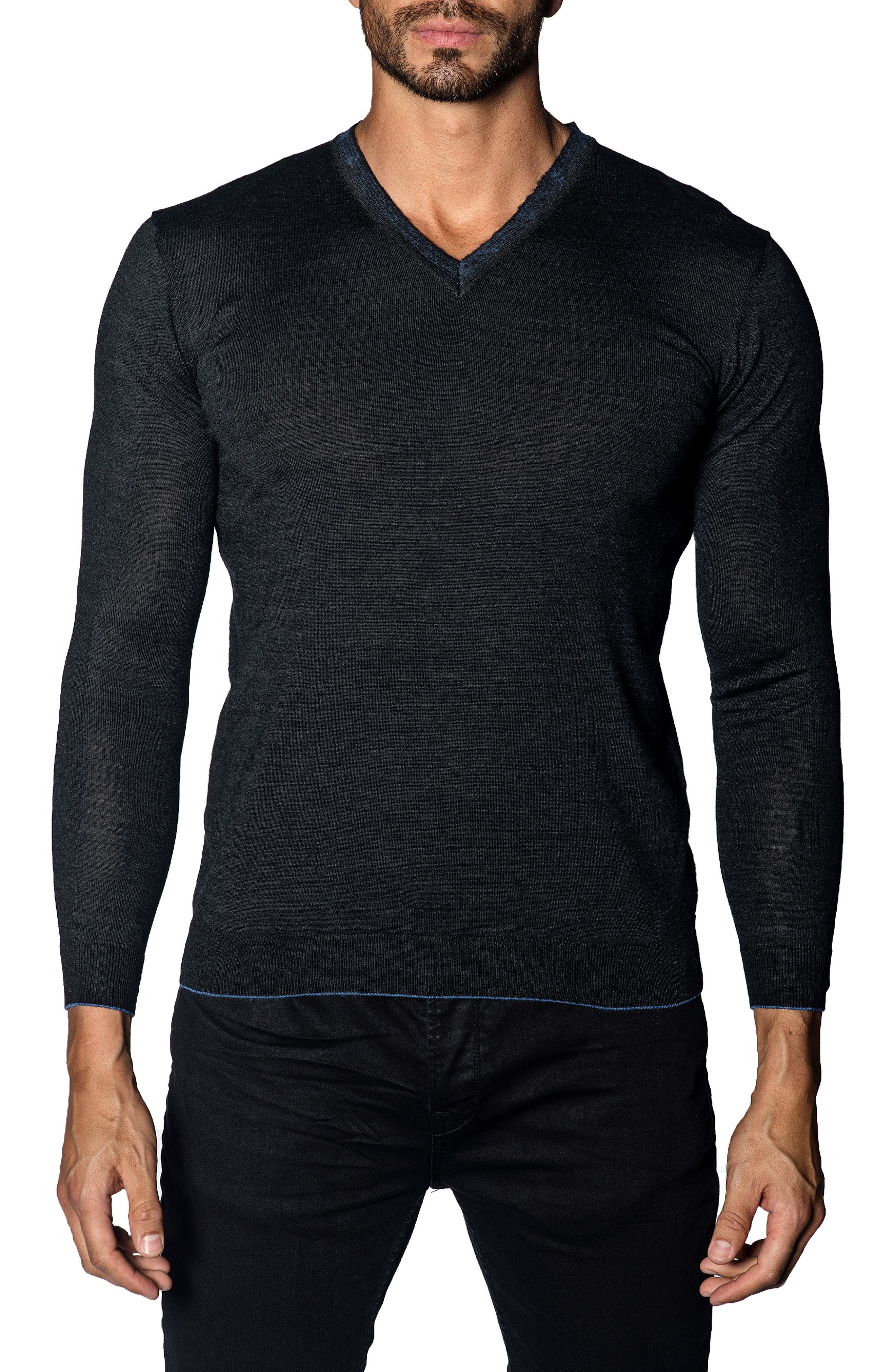 JARED LANG Trim Fit V-Neck Sweater in Charcoal