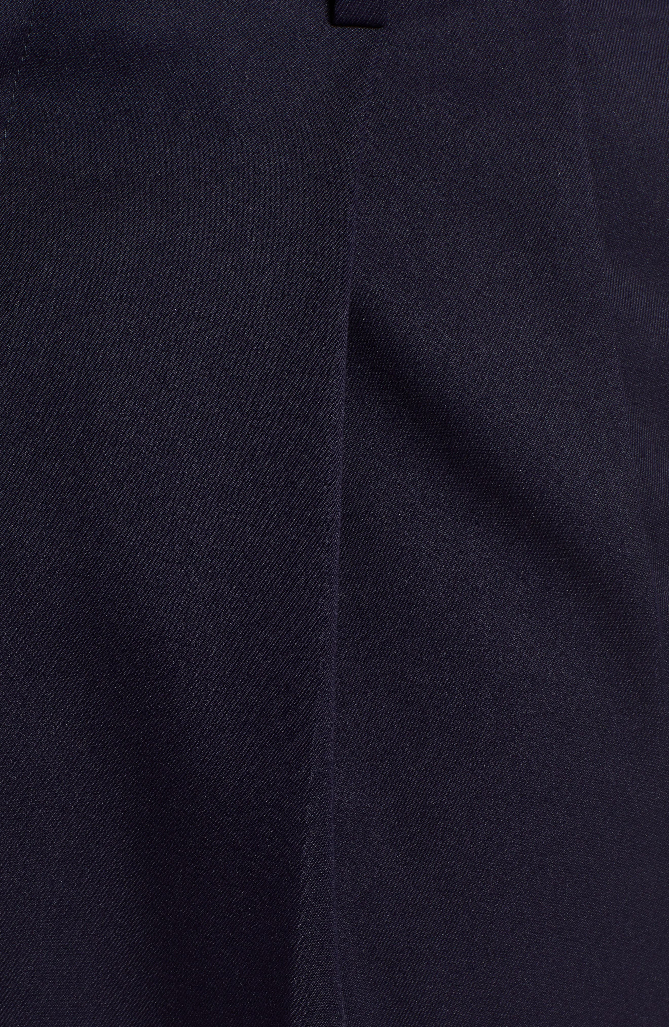 Classic Fit Pleated Microfiber Performance Trousers,                             Alternate thumbnail 5, color,                             NAVY
