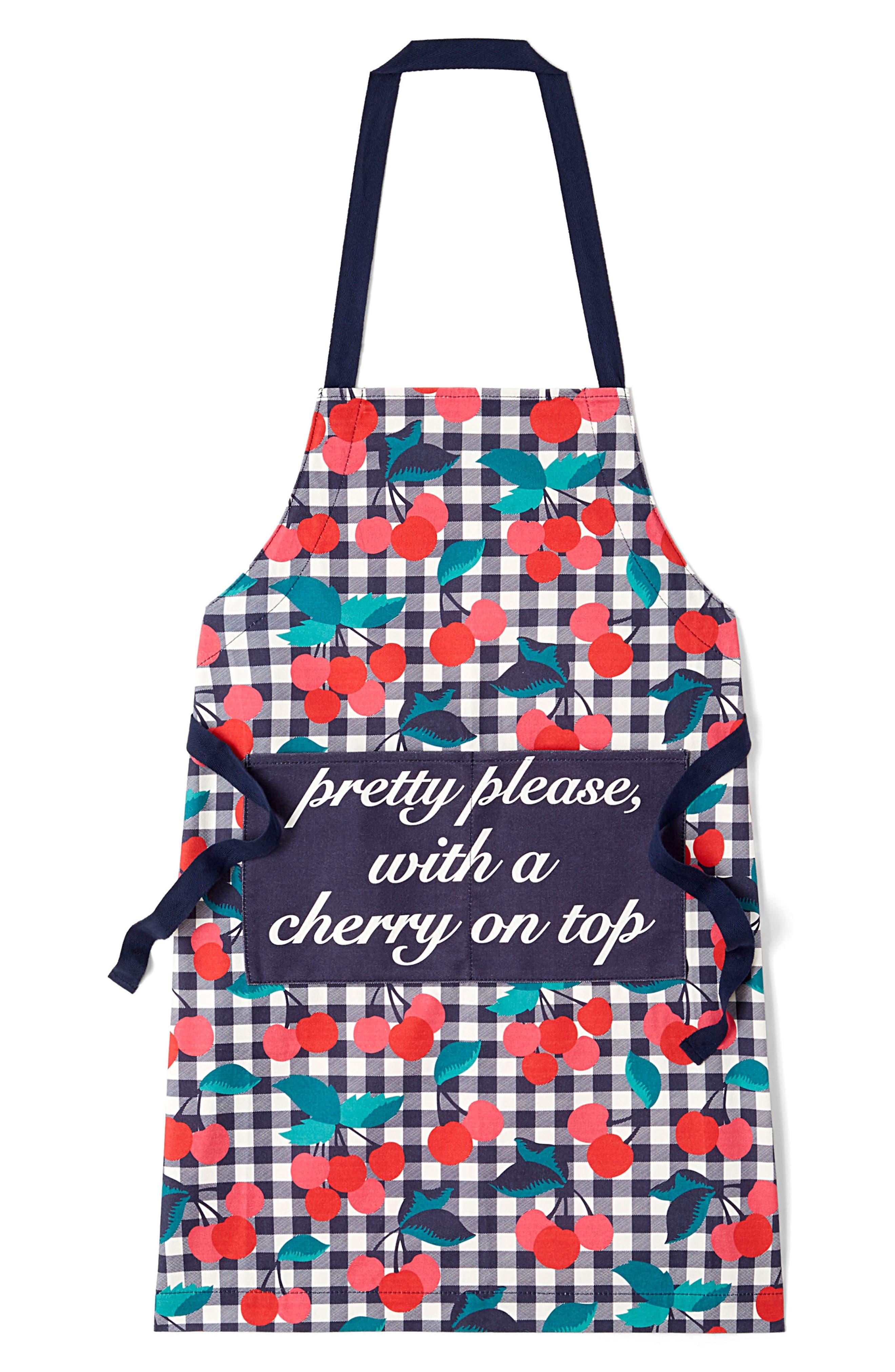 Cherry Print Apron,                         Main,                         color, CHERRY