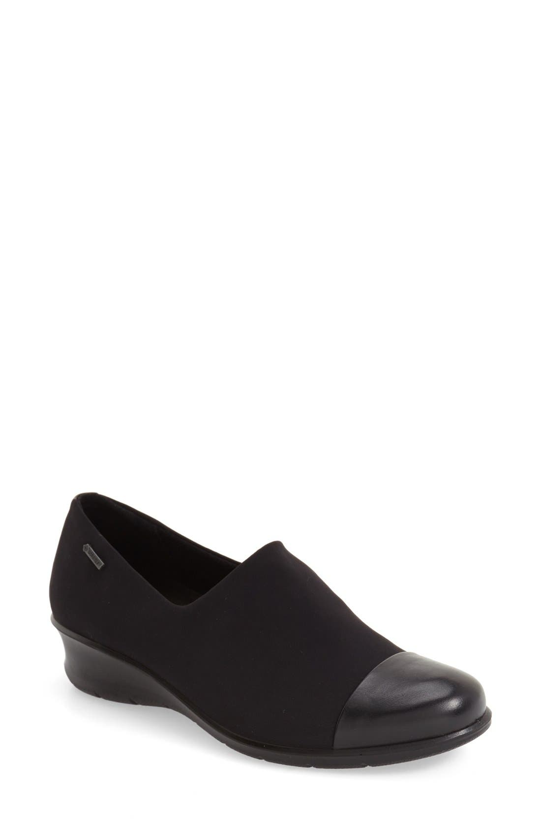 'Felicia GTX' Waterproof Wedge Loafer,                             Main thumbnail 1, color,                             BLACK GORE FABRIC