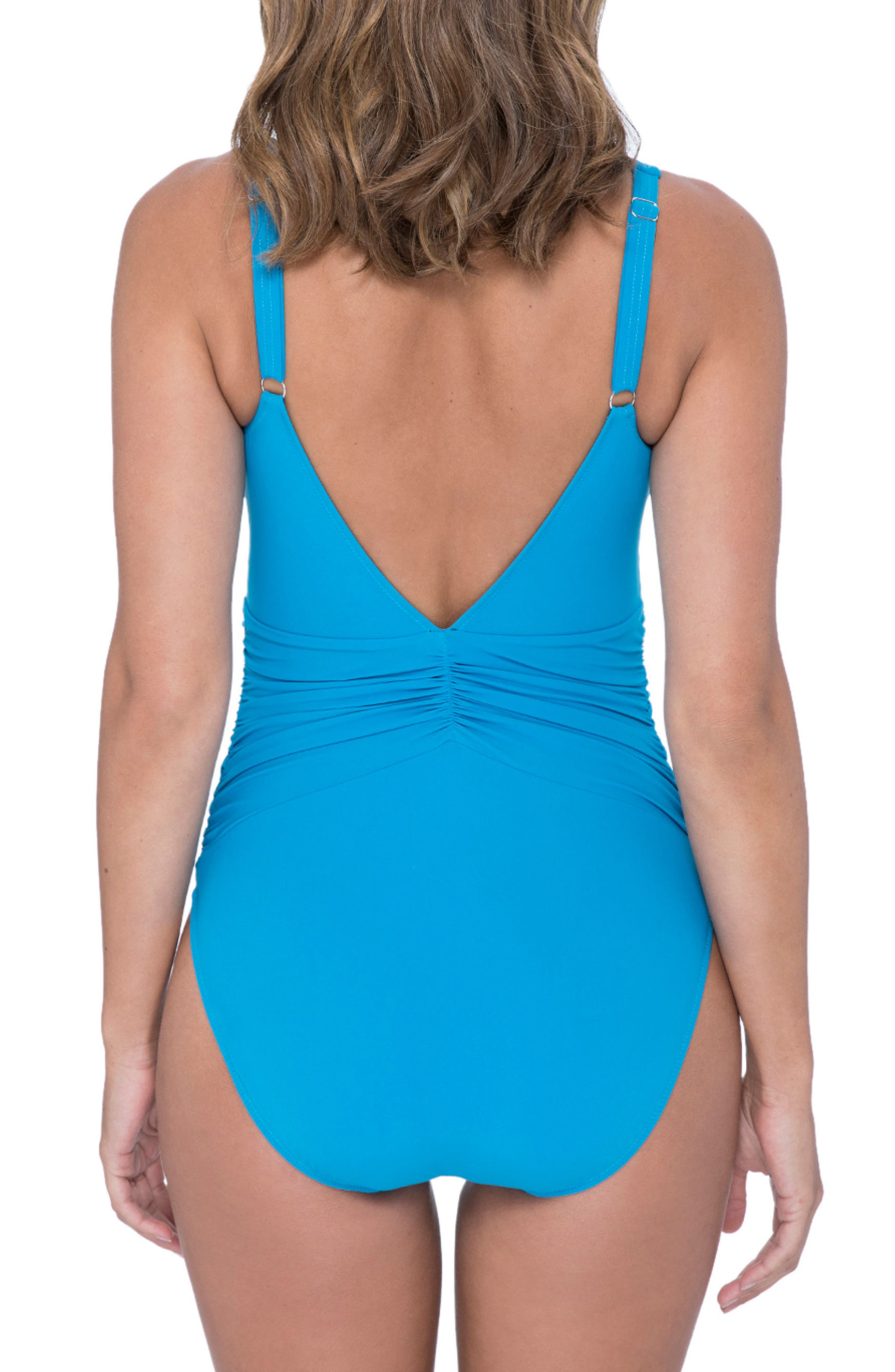 Cocktail Party One-Piece Swimsuit,                             Alternate thumbnail 2, color,                             PEACOCK