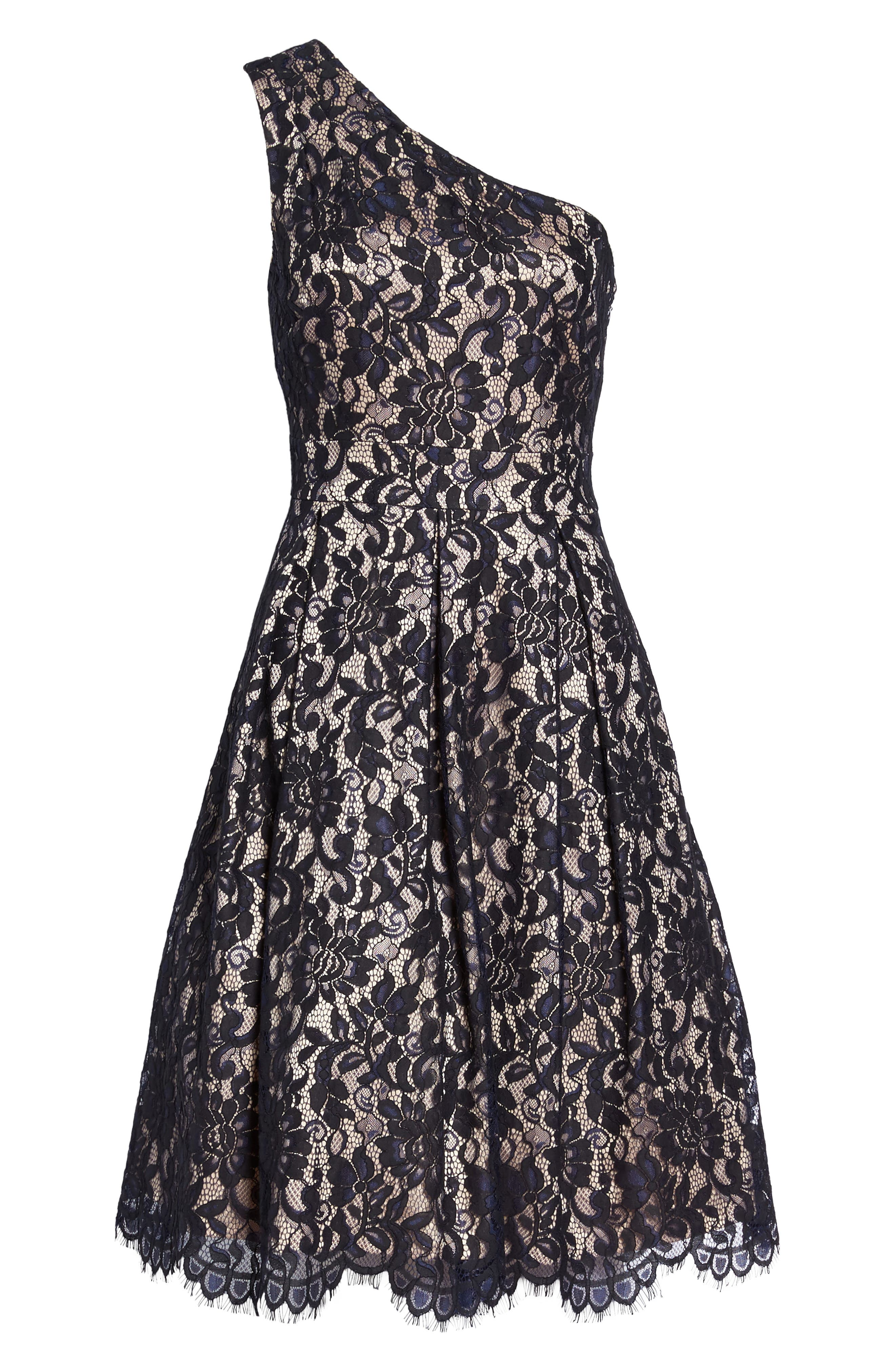 One-Shoulder Lace Dress,                             Alternate thumbnail 6, color,                             410