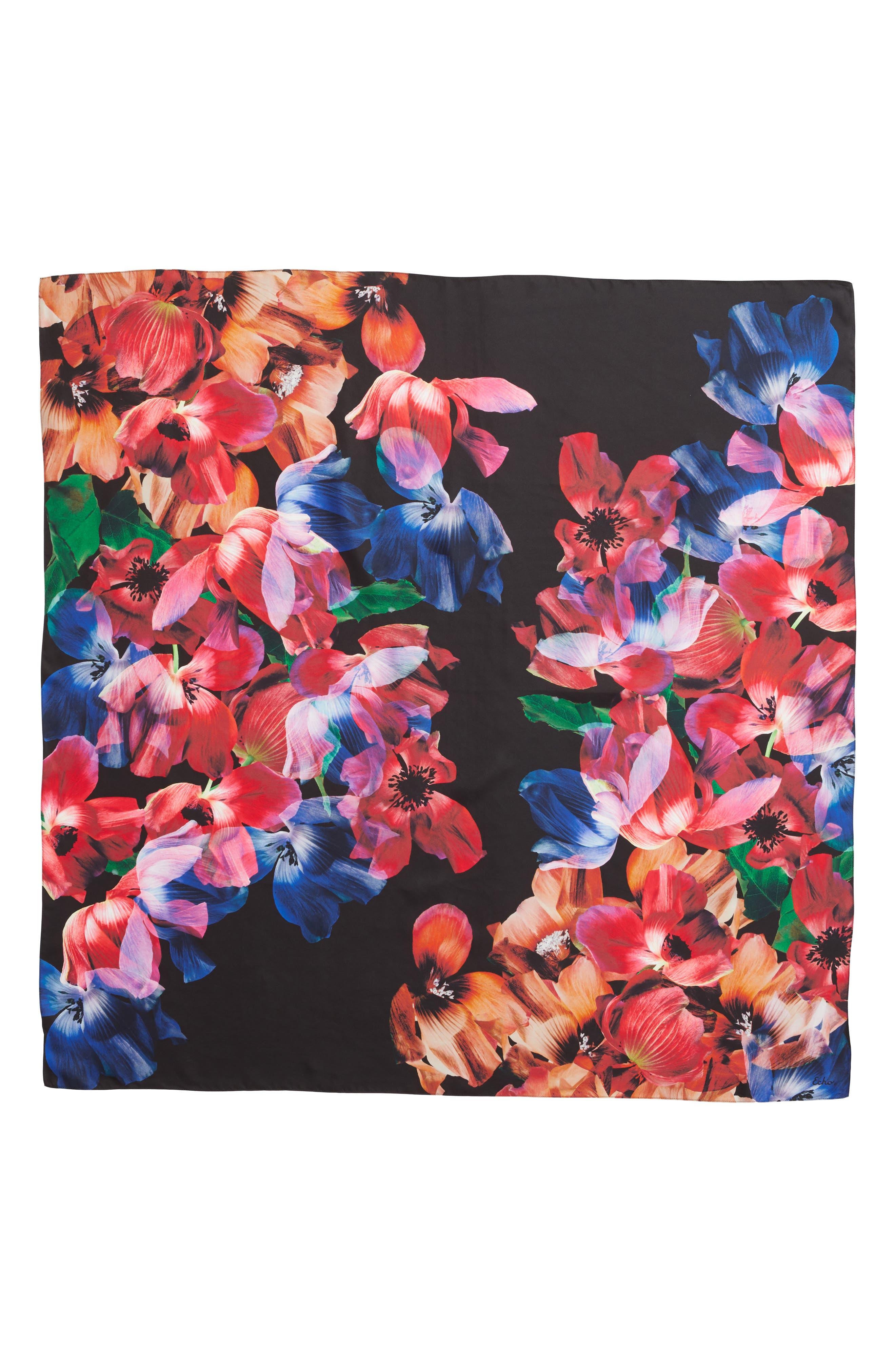 Floral Print Square Silk Scarf,                             Alternate thumbnail 3, color,                             MULTI