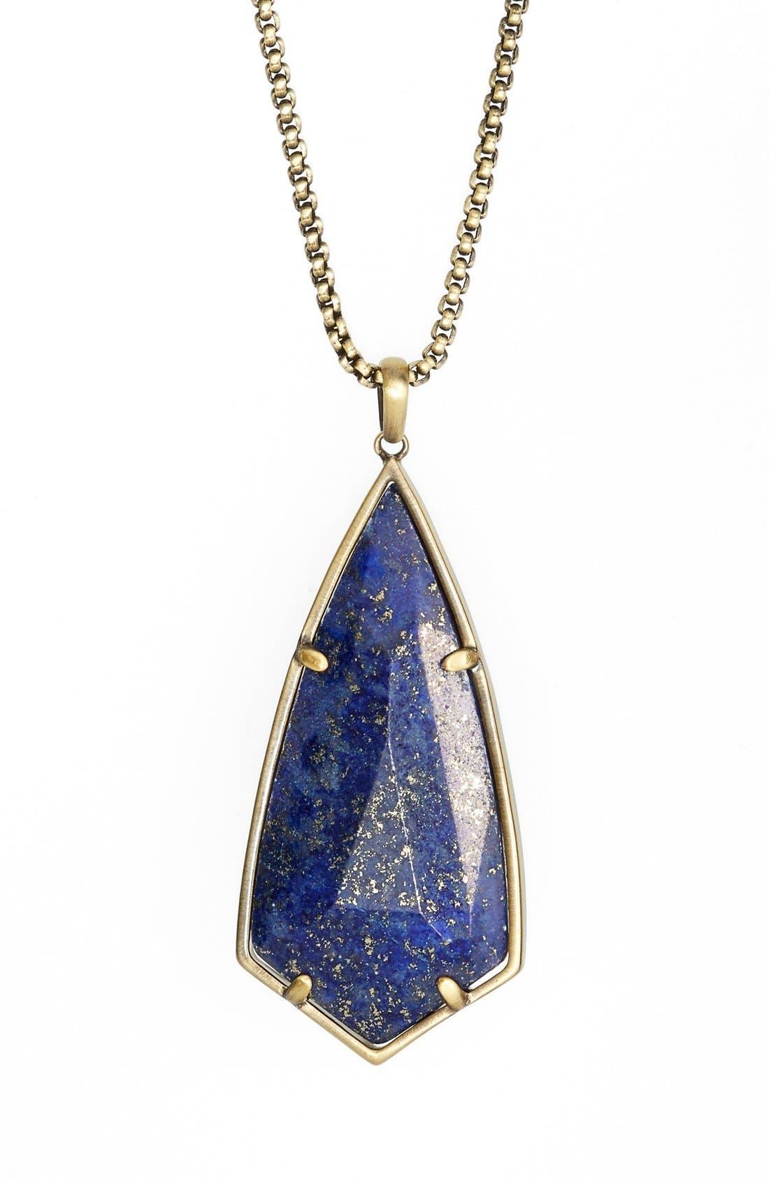 'Carole' Long Semiprecious Stone Pendant Necklace,                             Alternate thumbnail 19, color,