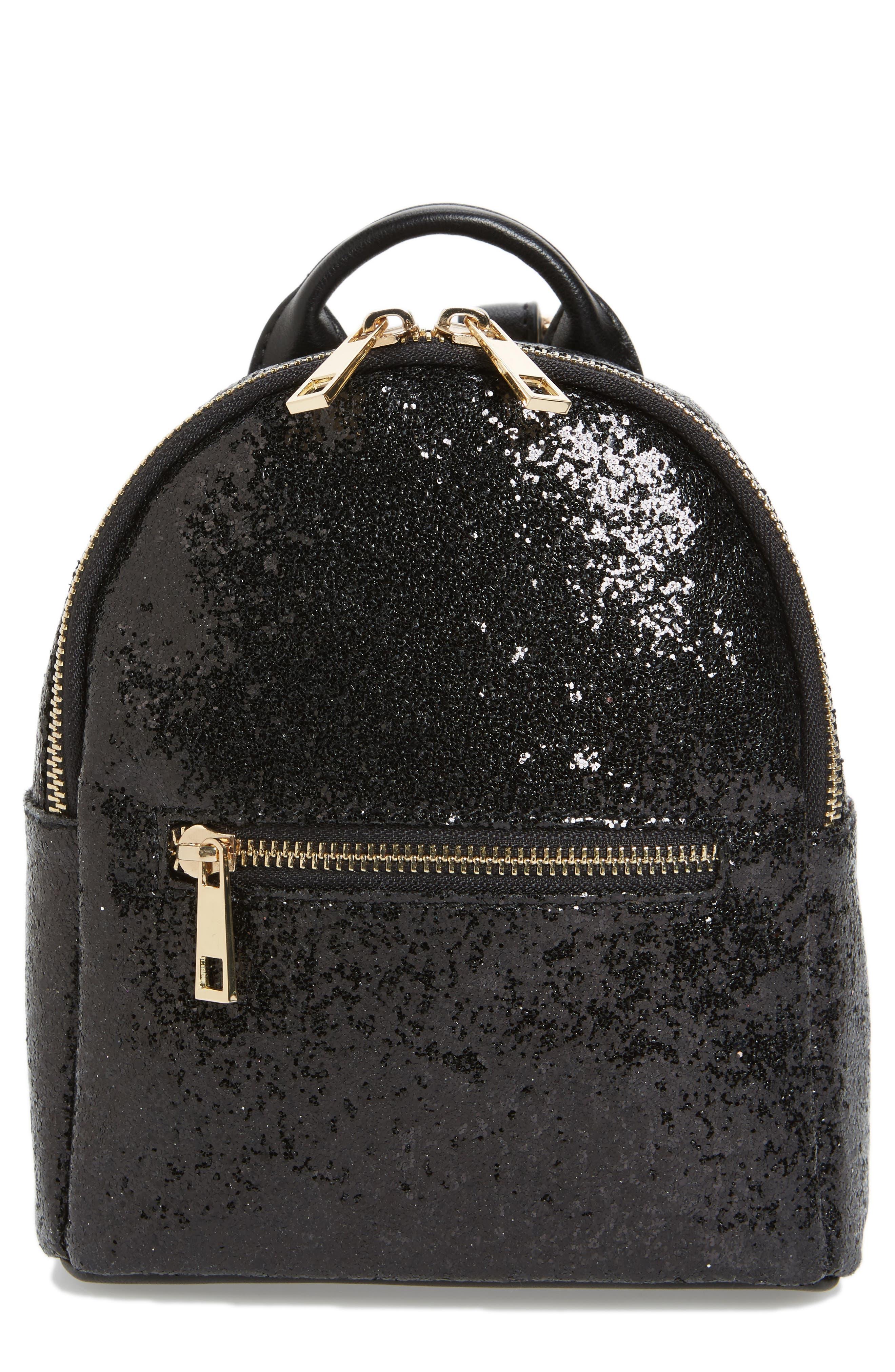 Mali + Lili Glitter Vegan Leather Backpack,                         Main,                         color, BLACK