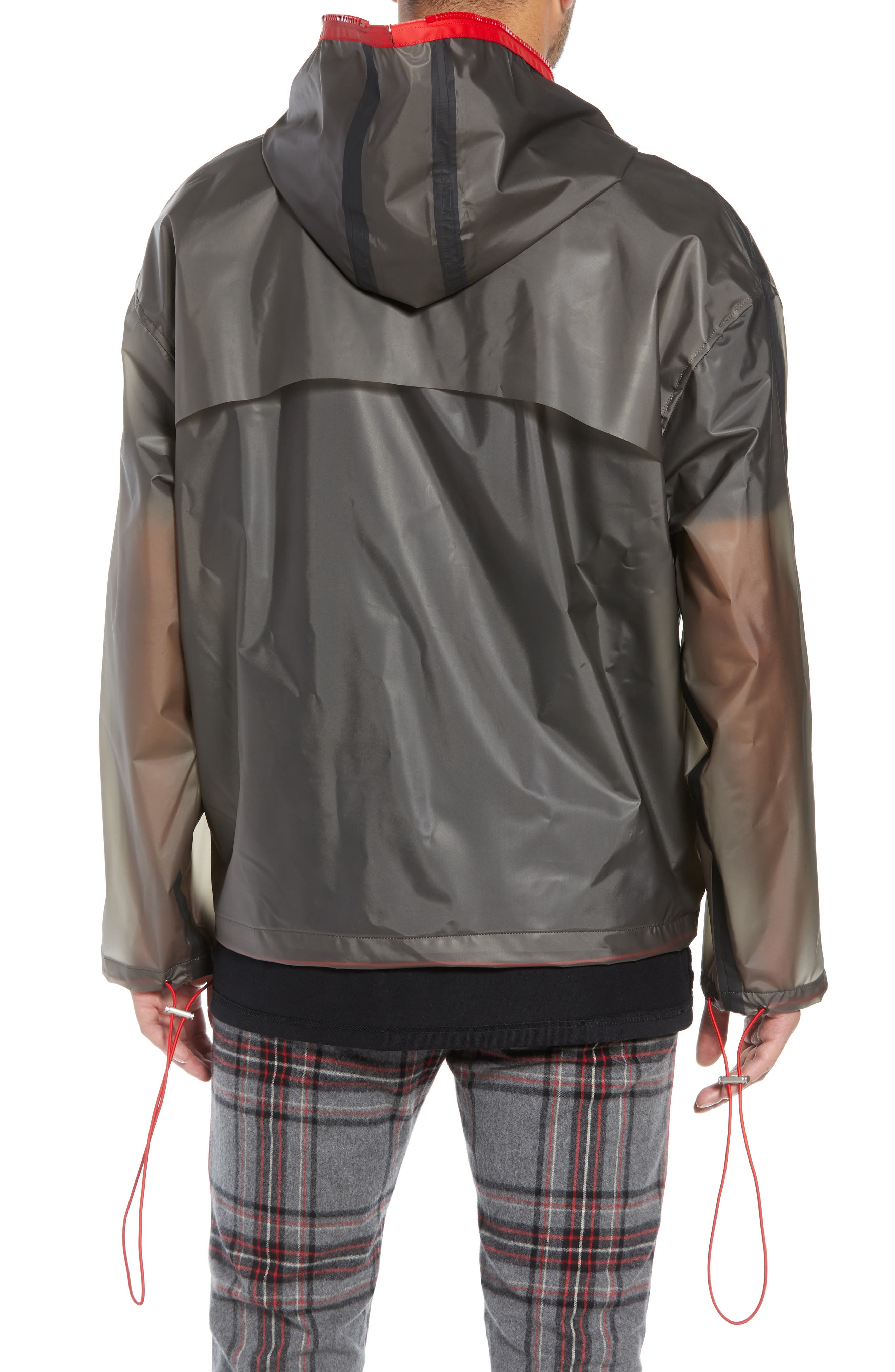 Rubber Half Zip Rain Jacket,                             Alternate thumbnail 2, color,                             BLACK