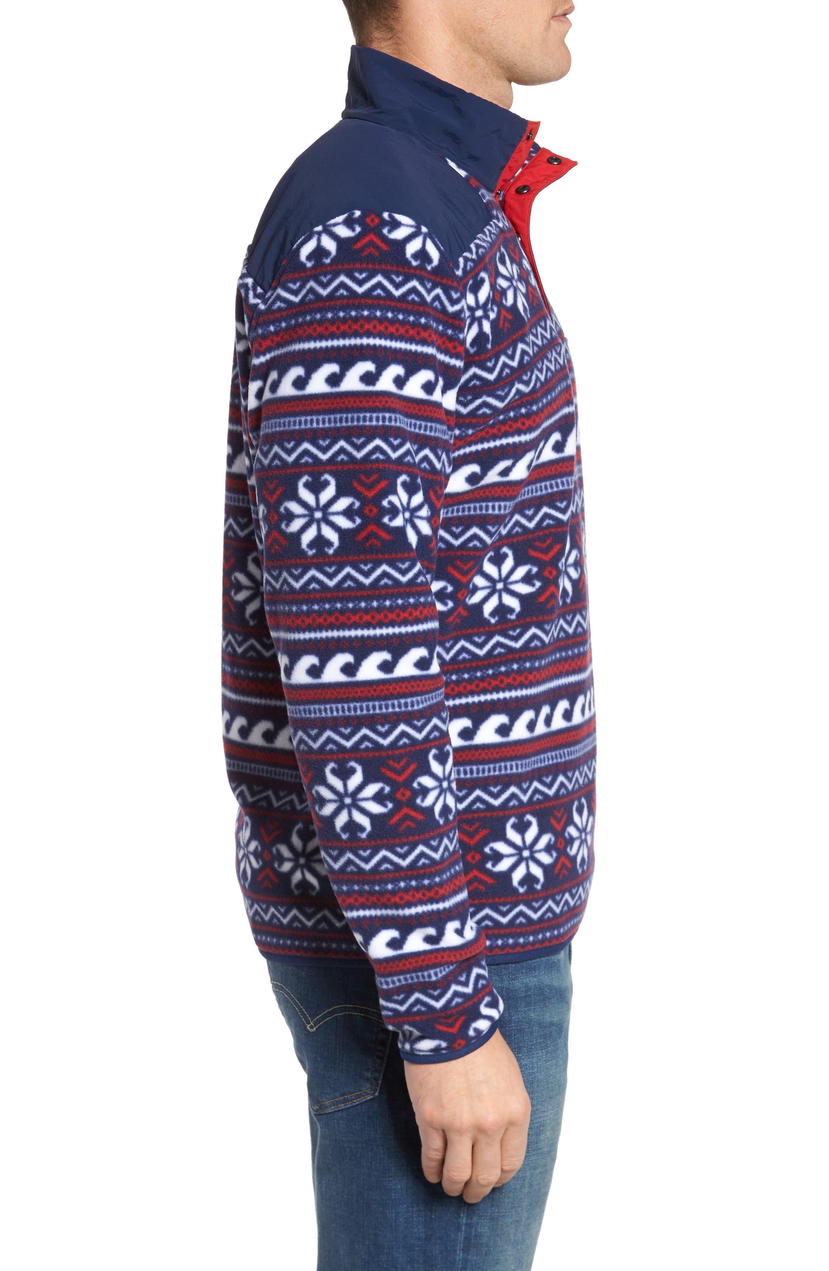 Fair Isle Quarter Snap Fleece Pullover,                             Alternate thumbnail 3, color,