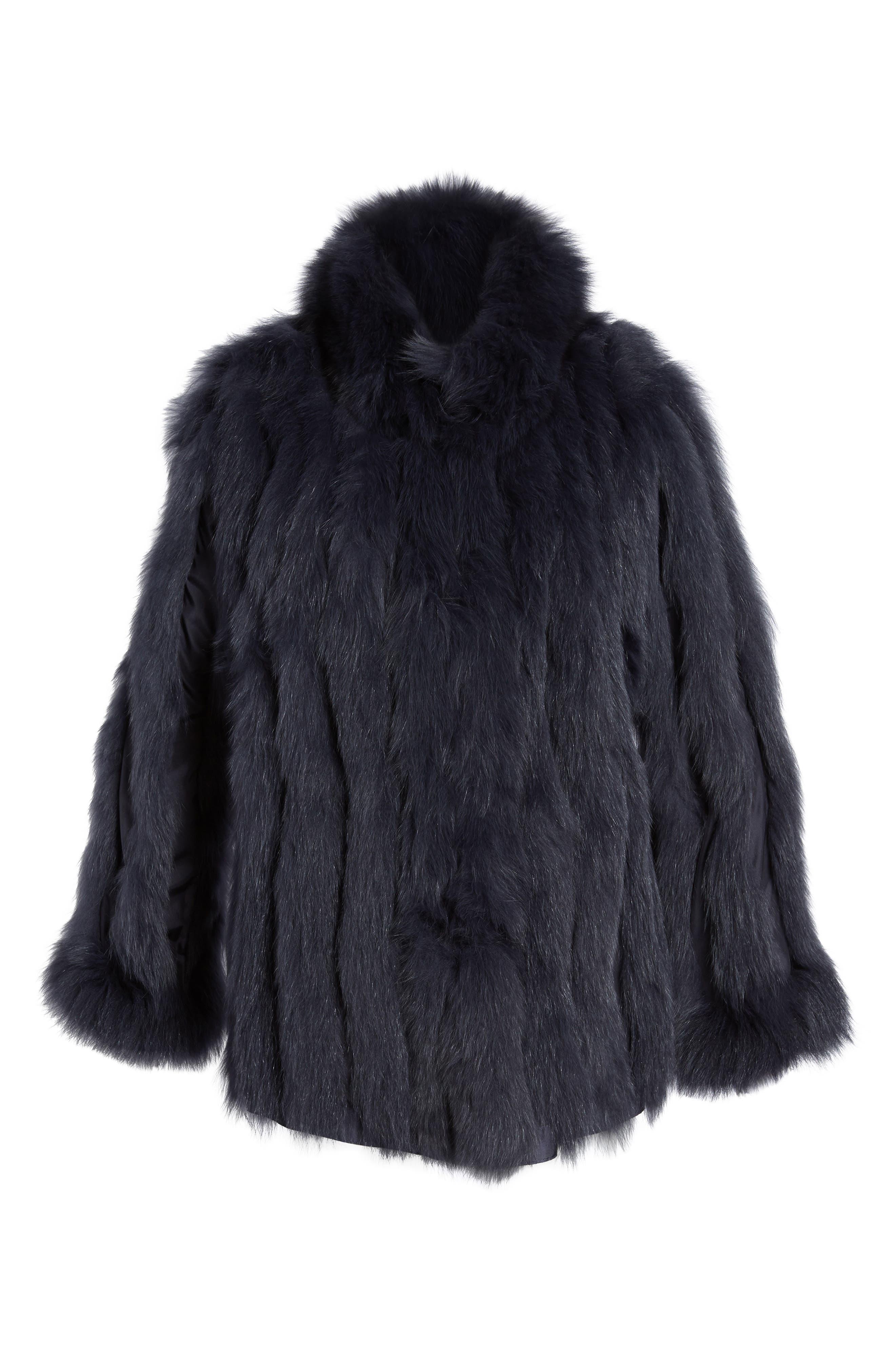 GeorgeSimonton Reversible Silk & Genuine Fox Fur Topper,                             Alternate thumbnail 22, color,