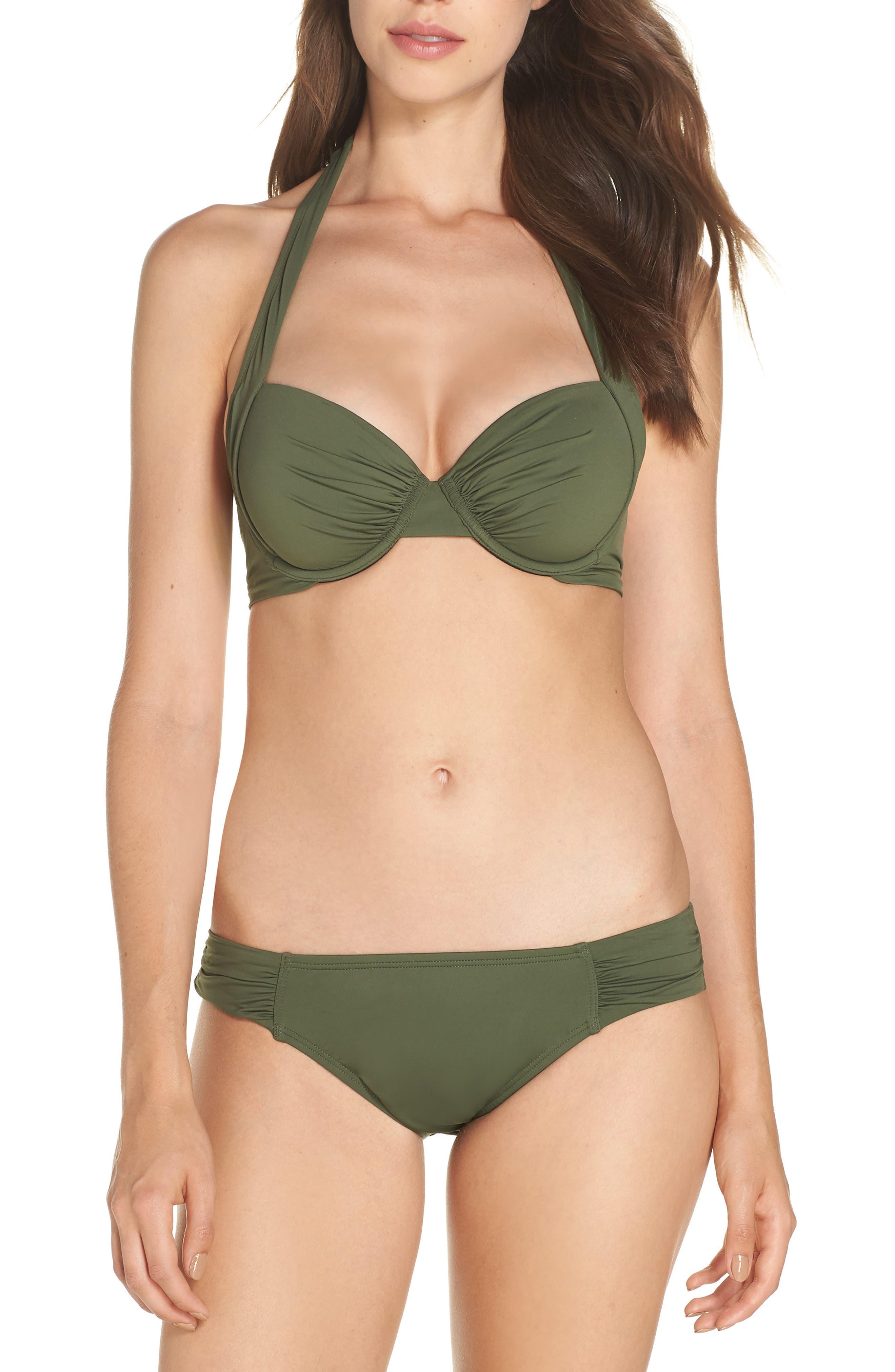 Underwire Halter Bikini Top,                             Alternate thumbnail 7, color,                             DARK TEA LEAF