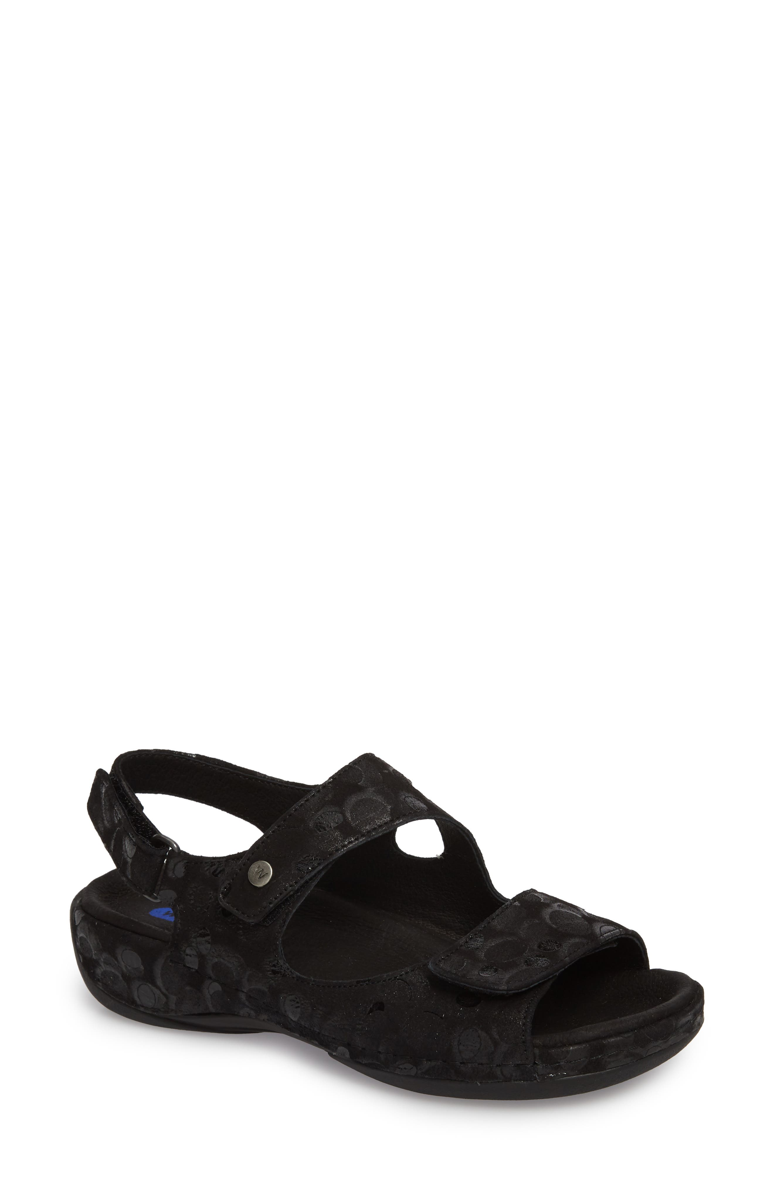 WOLKY Liana Sandal, Main, color, BLACK PRINTED NUBUCK