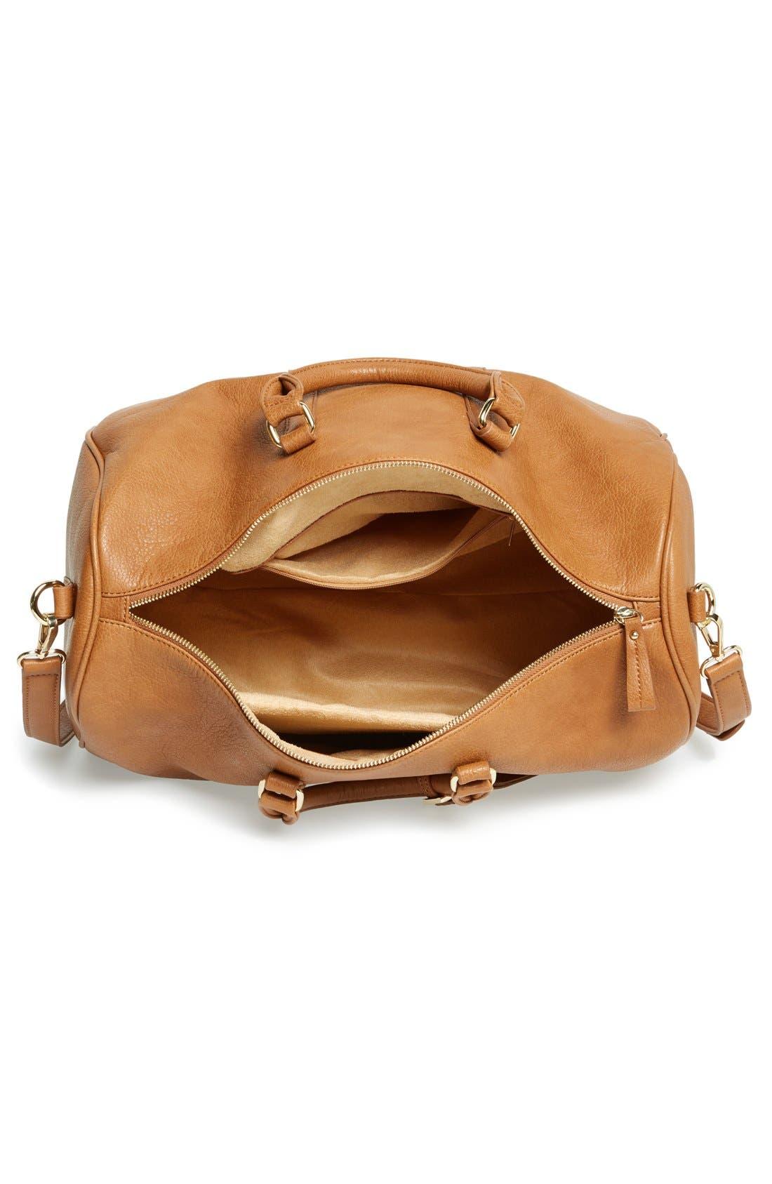 'Cassidy' Faux Leather Duffel Bag,                             Alternate thumbnail 9, color,                             COGNAC