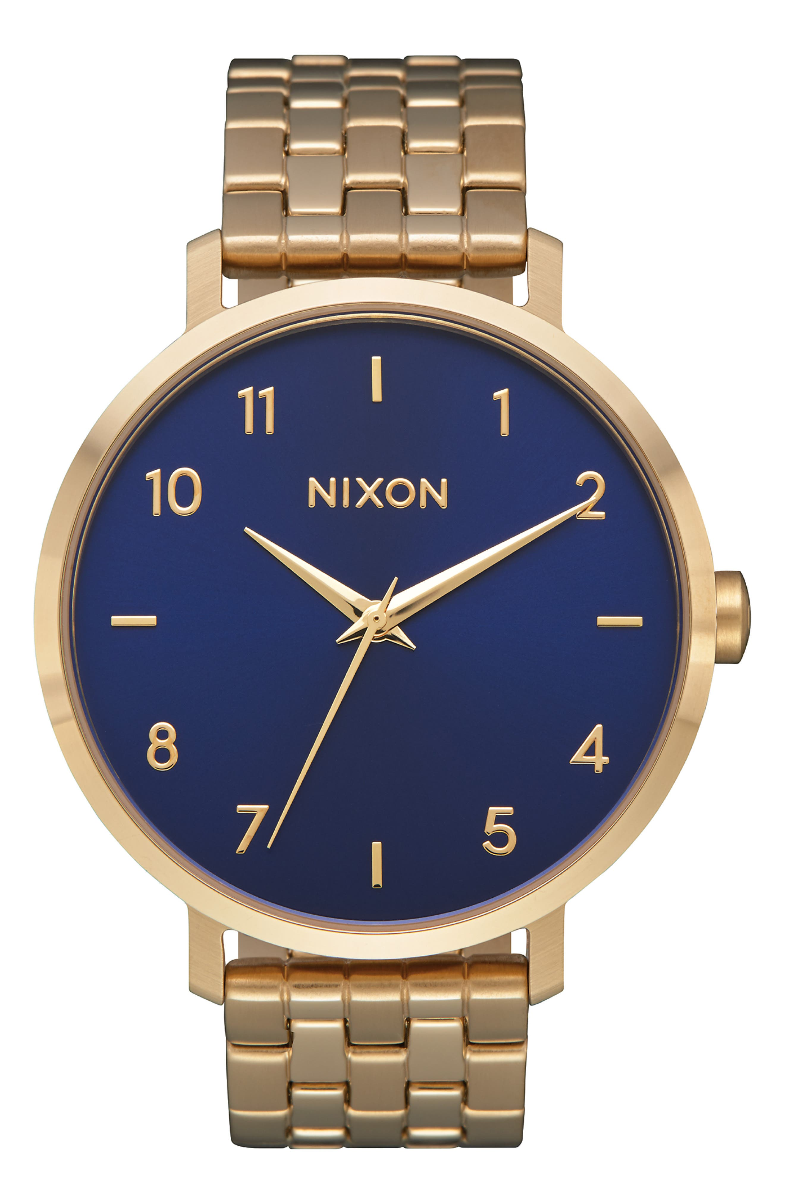 The Arrow Bracelet Watch, 38mm, Main, color, NAVY/ GOLD