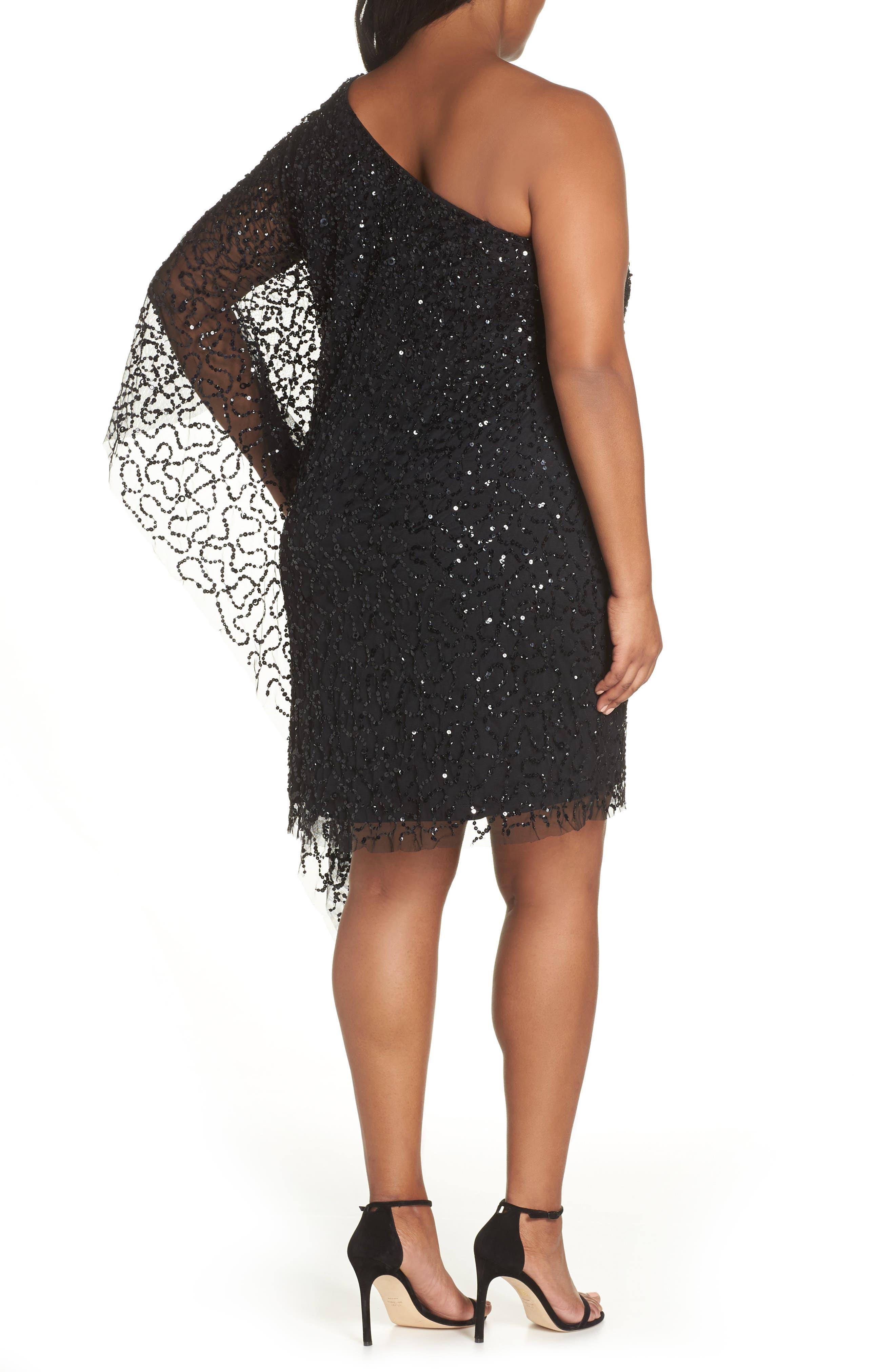 Beaded One-Shoulder Sheath Dress,                             Alternate thumbnail 2, color,                             BLACK