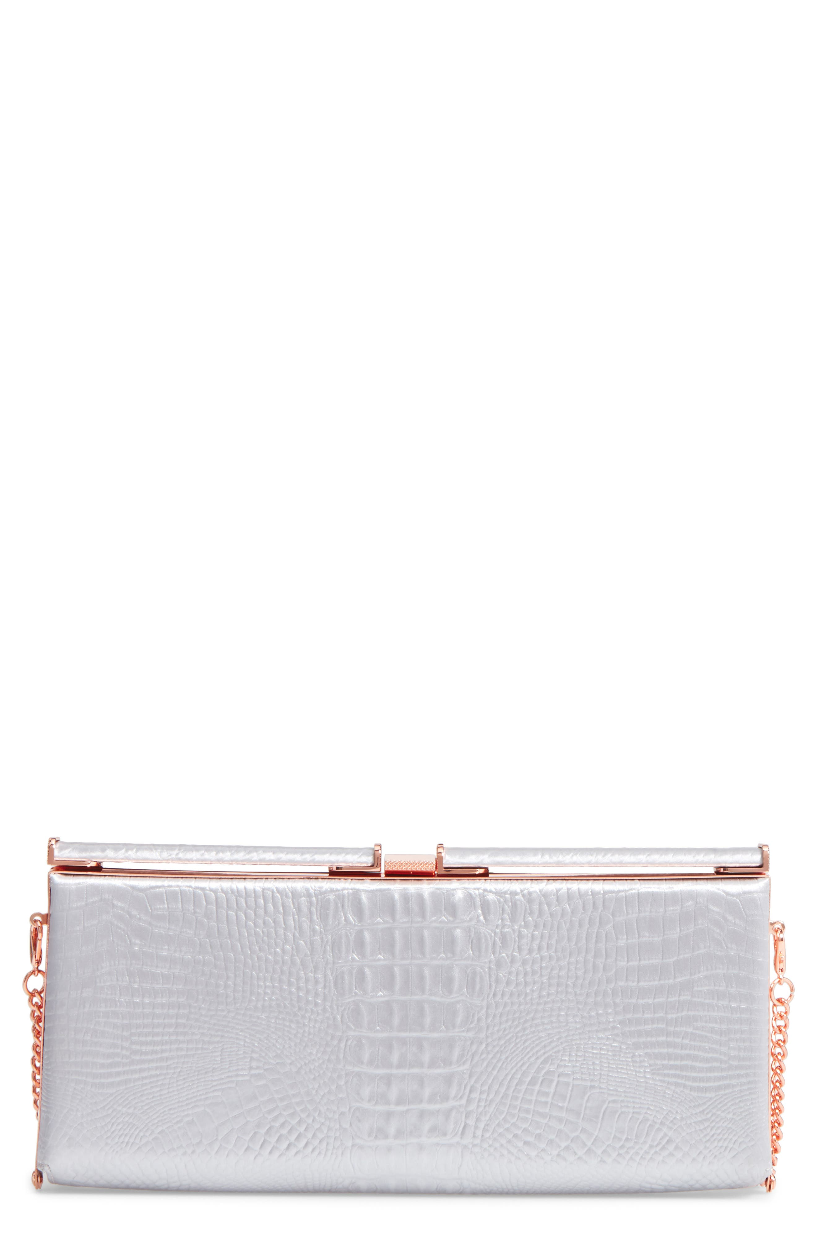 Ted Baker Darciee Embossed Frame Clutch,                             Main thumbnail 1, color,                             050