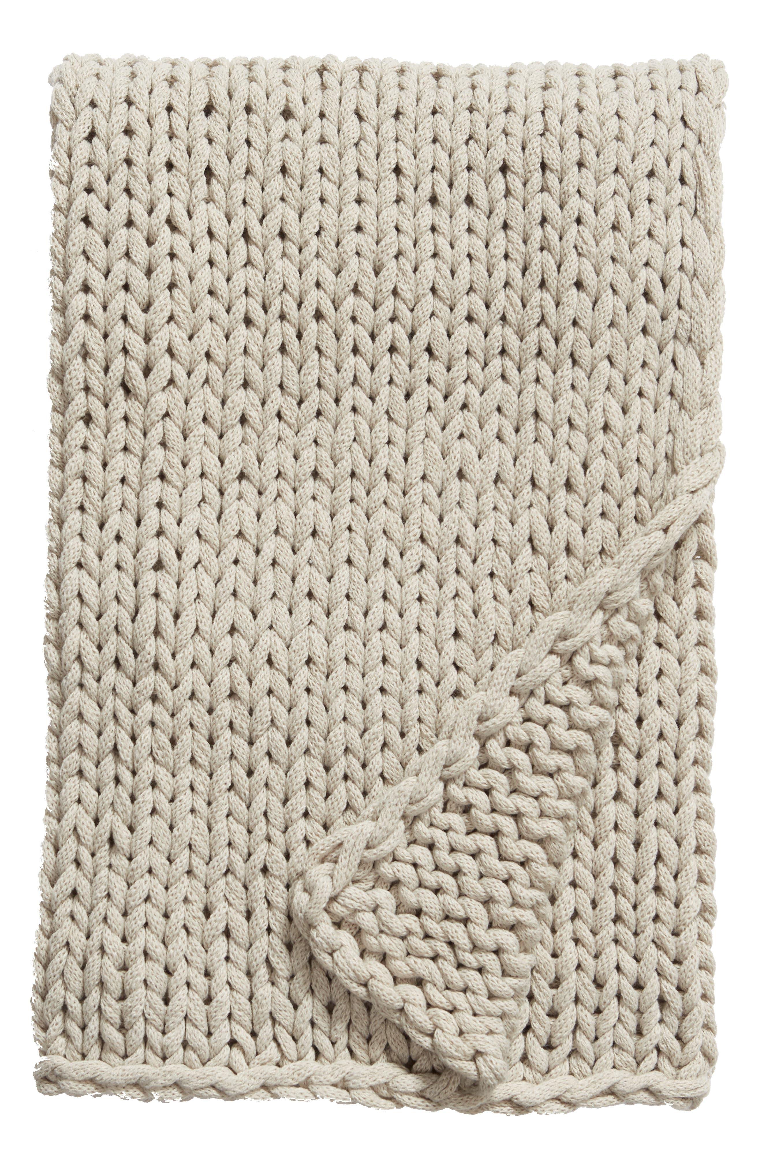 TREASURE & BOND Jersey Rope Throw Blanket, Main, color, GREY OWL