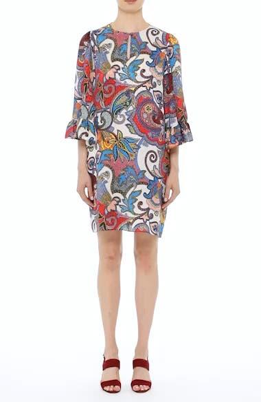 Paisley Print Silk Flutter Sleeve Dress, video thumbnail