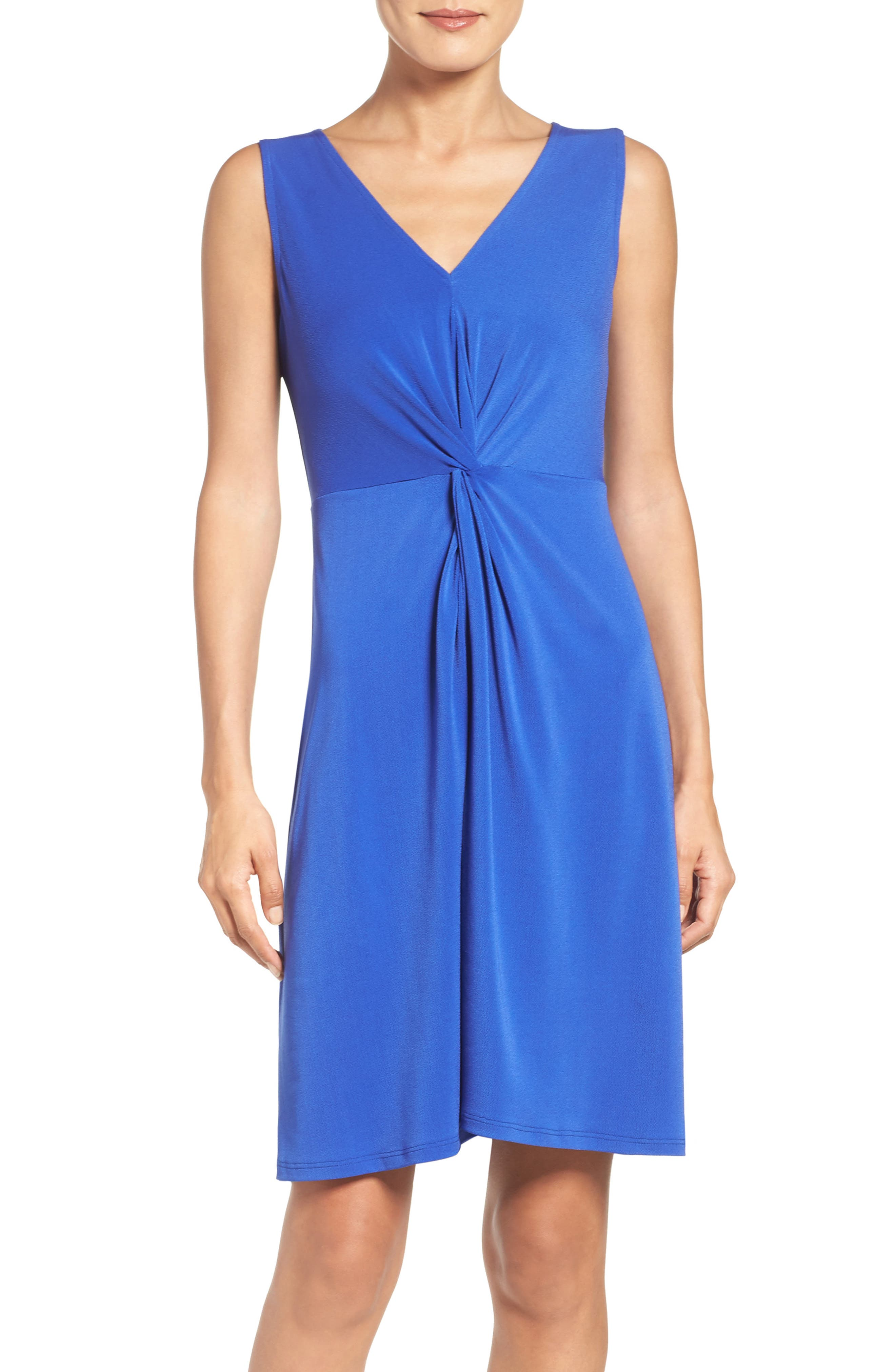 Twist Front Jersey Sheath Dress,                         Main,                         color, 430