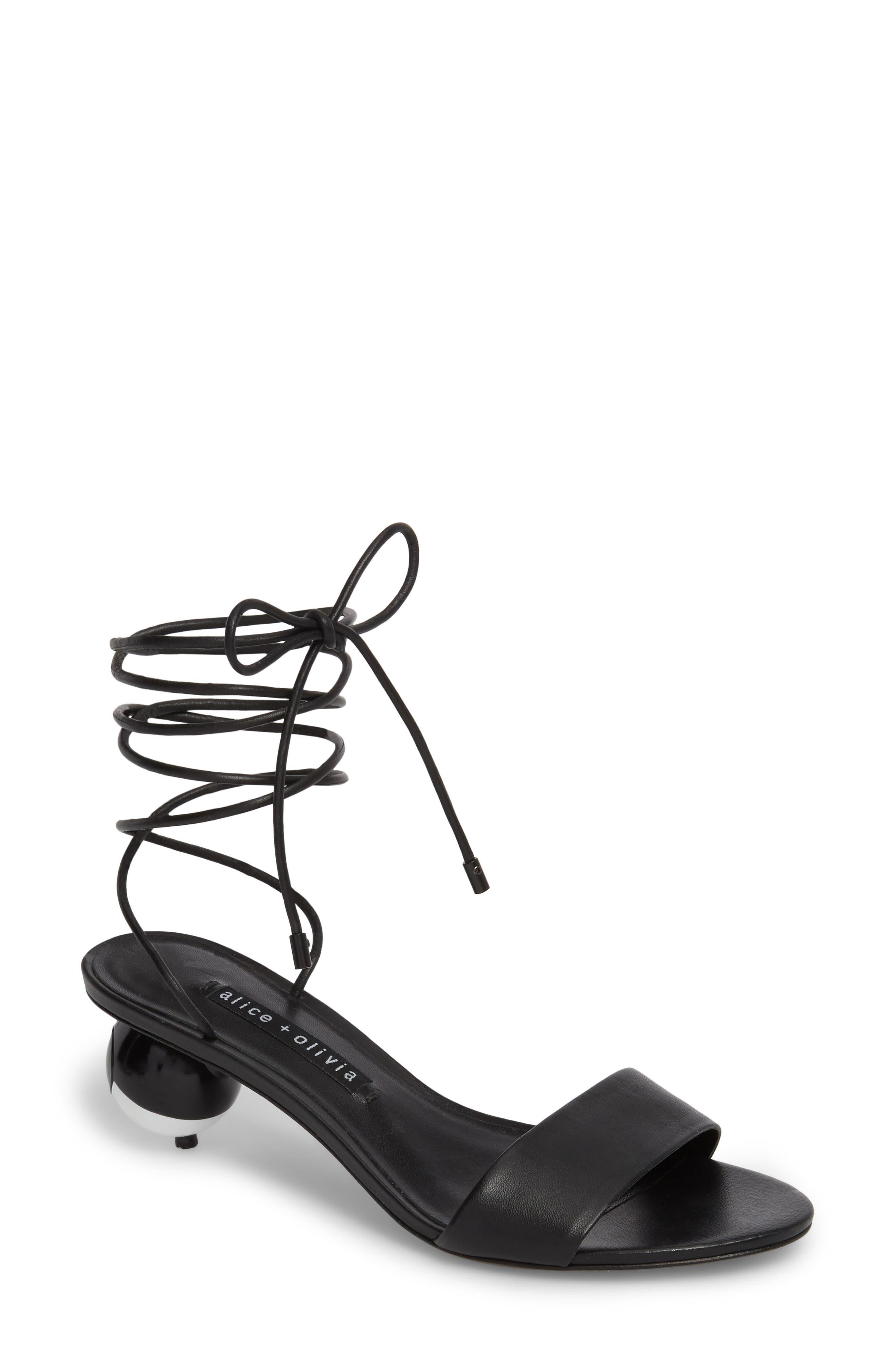 Coraline Ankle Tie Sandal,                             Main thumbnail 1, color,                             001