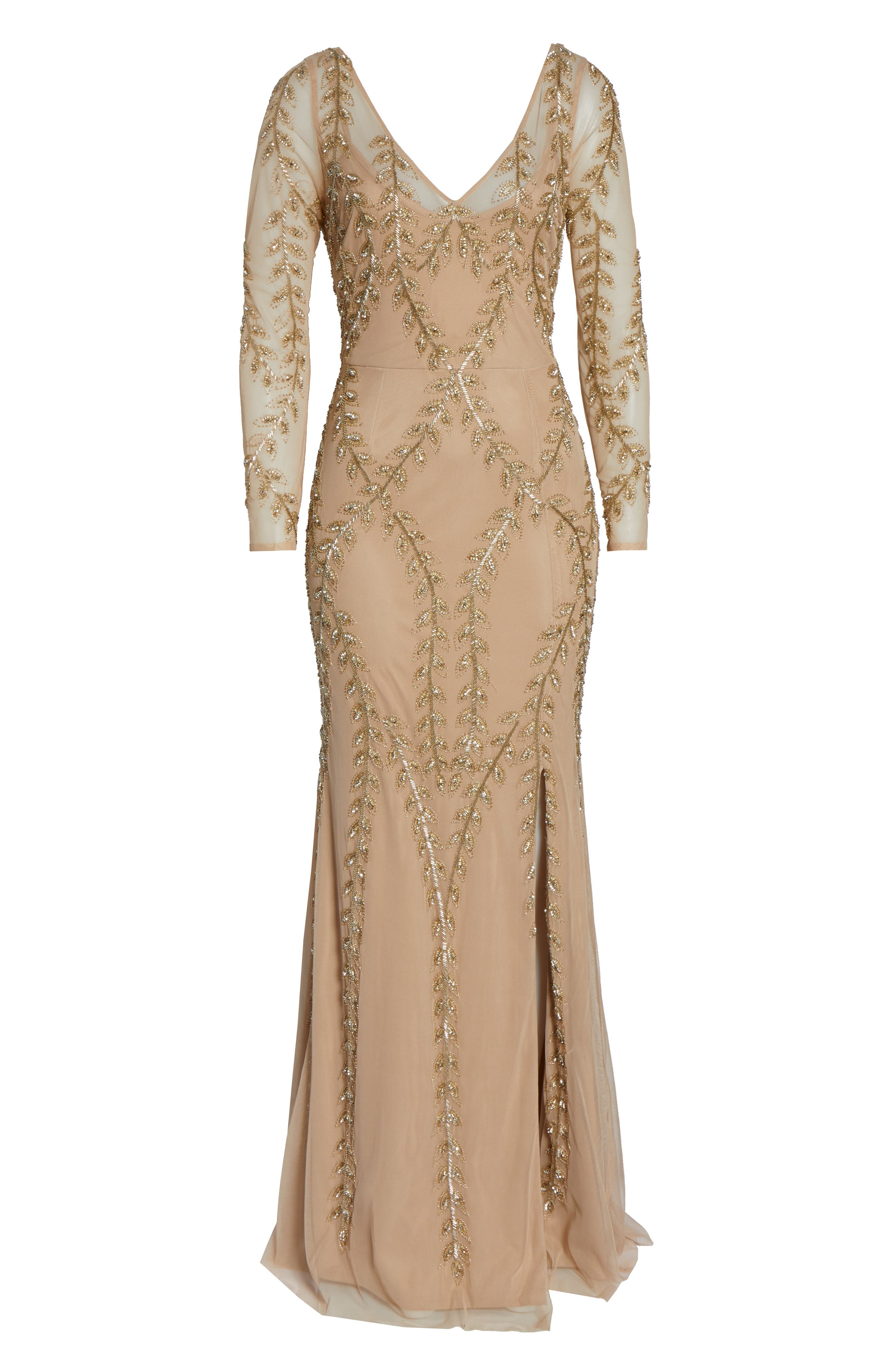 ADRIANNA PAPELL,                             Fern Beaded Gown,                             Alternate thumbnail 7, color,                             CHAMPAGNE/ GOLD