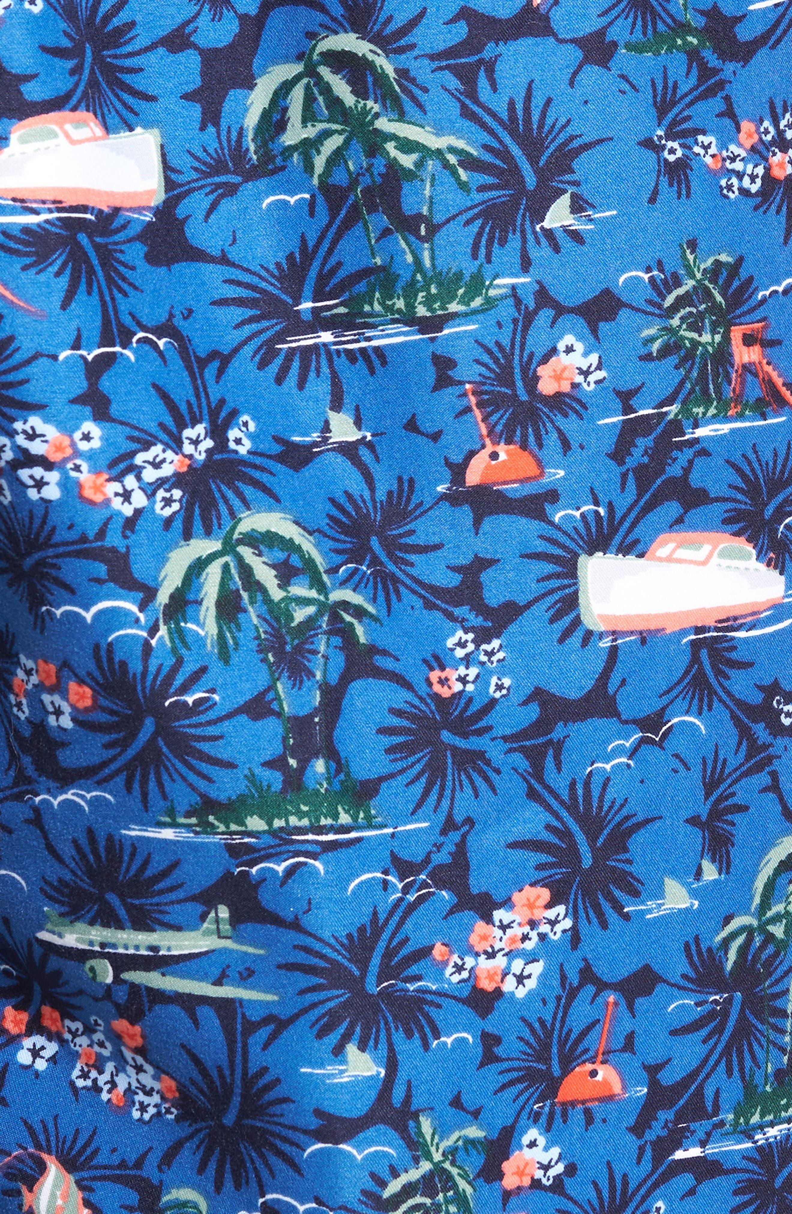 Hawaiian Express Swim Trunks,                             Alternate thumbnail 5, color,                             BLUE