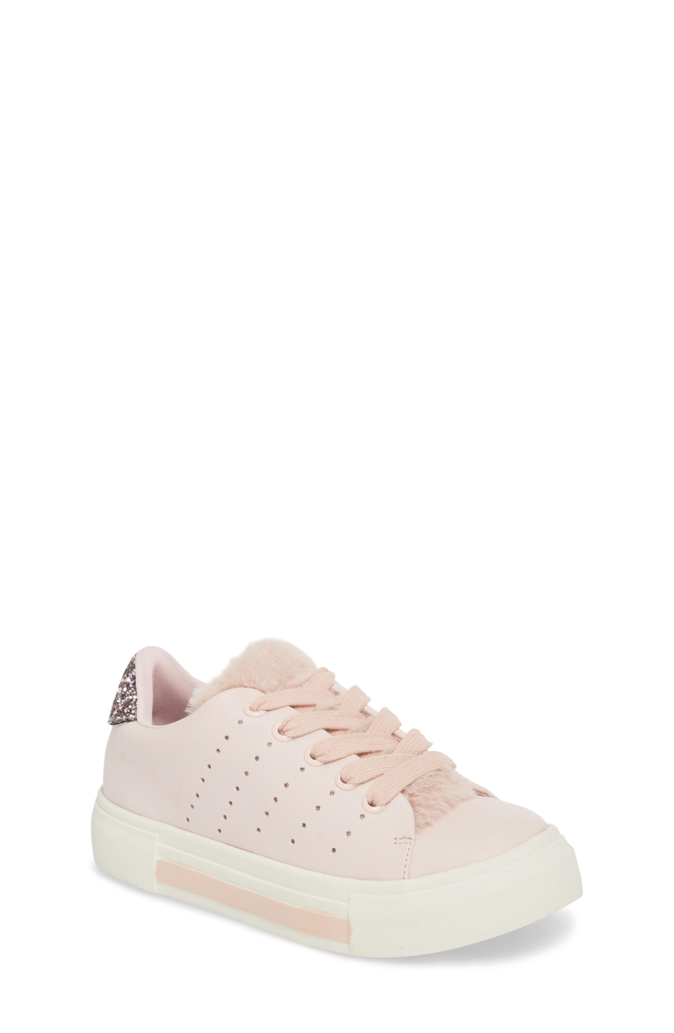 Cabel Glitter Faux Fur Sneaker,                         Main,                         color, PINK