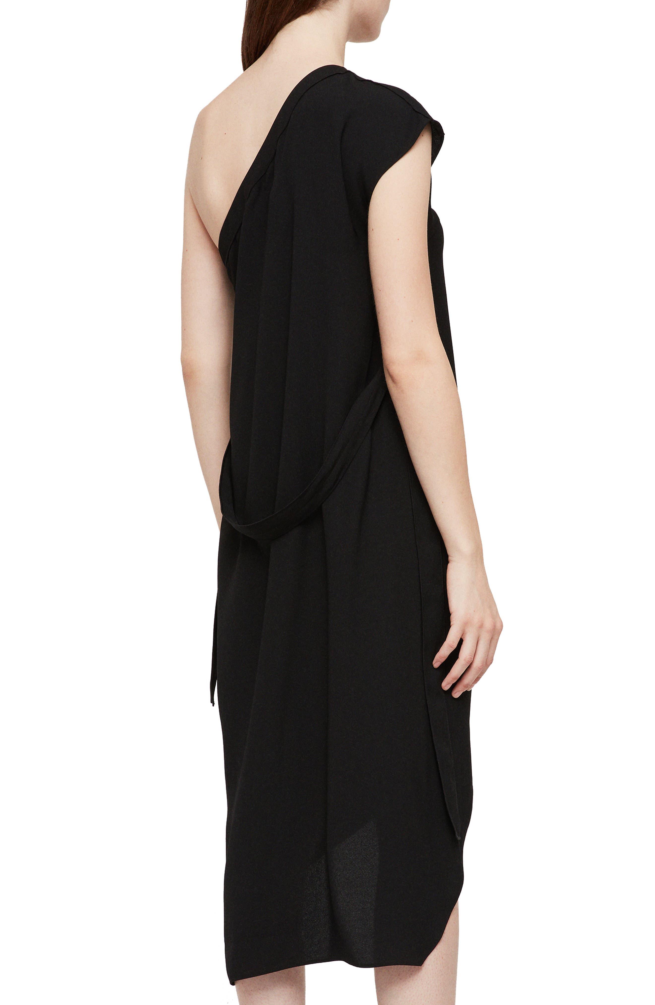Luana One-Shoulder Dress,                             Alternate thumbnail 2, color,                             001