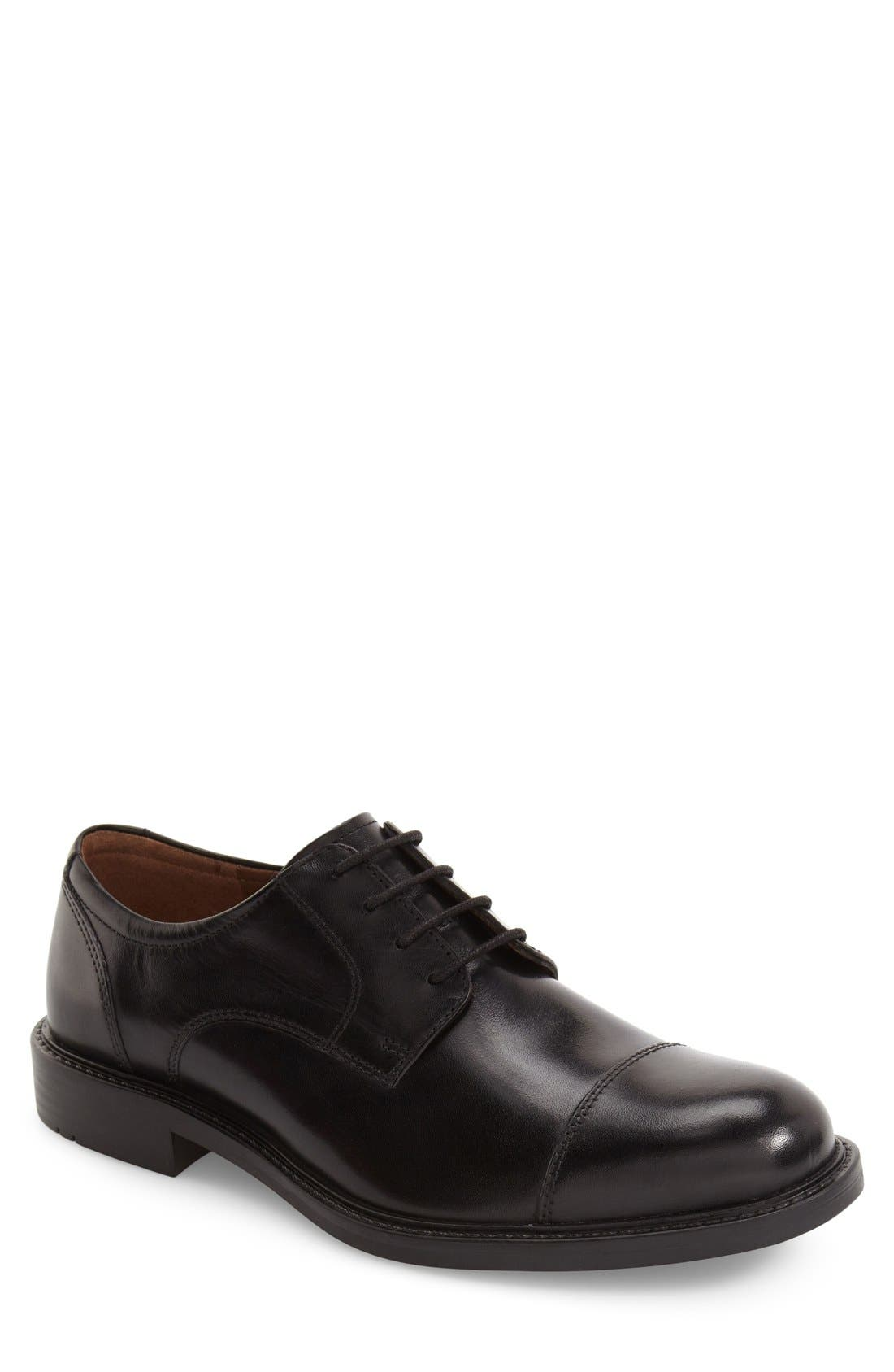 Tabor Cap Toe Derby,                         Main,                         color, BLACK LEATHER