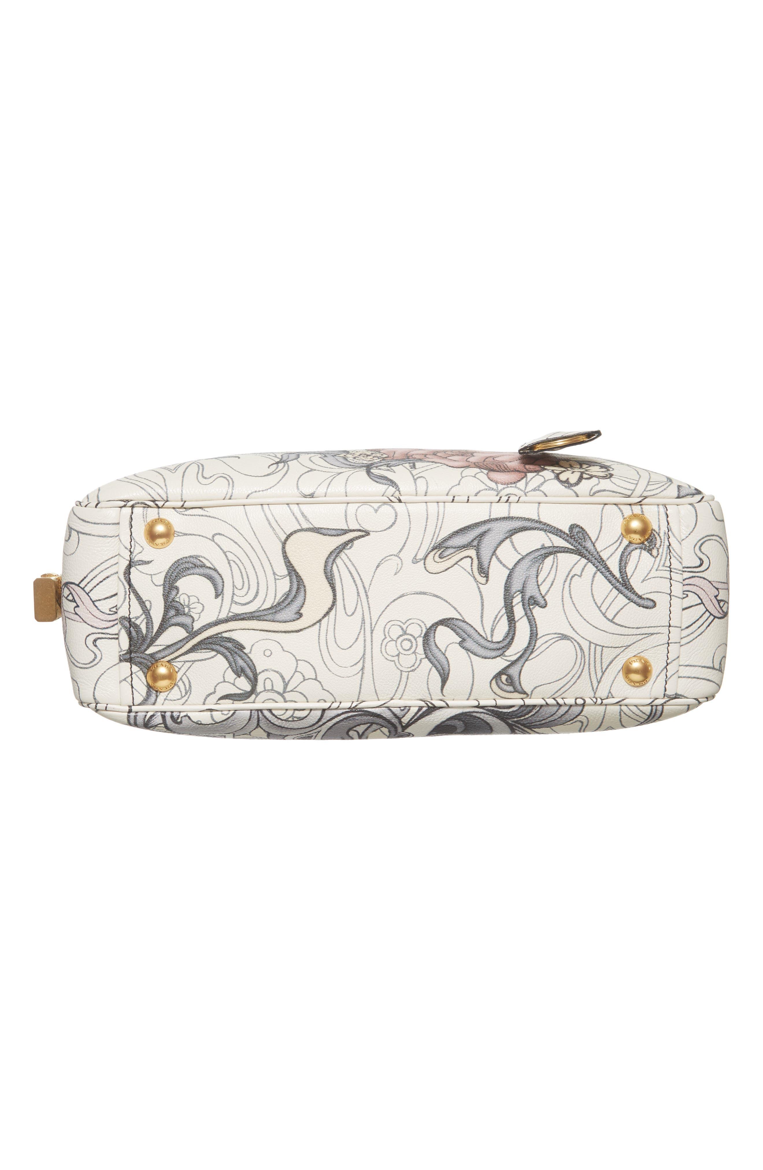 Glace Calfskin Rabbit Bowler Bag,                             Alternate thumbnail 6, color,                             100