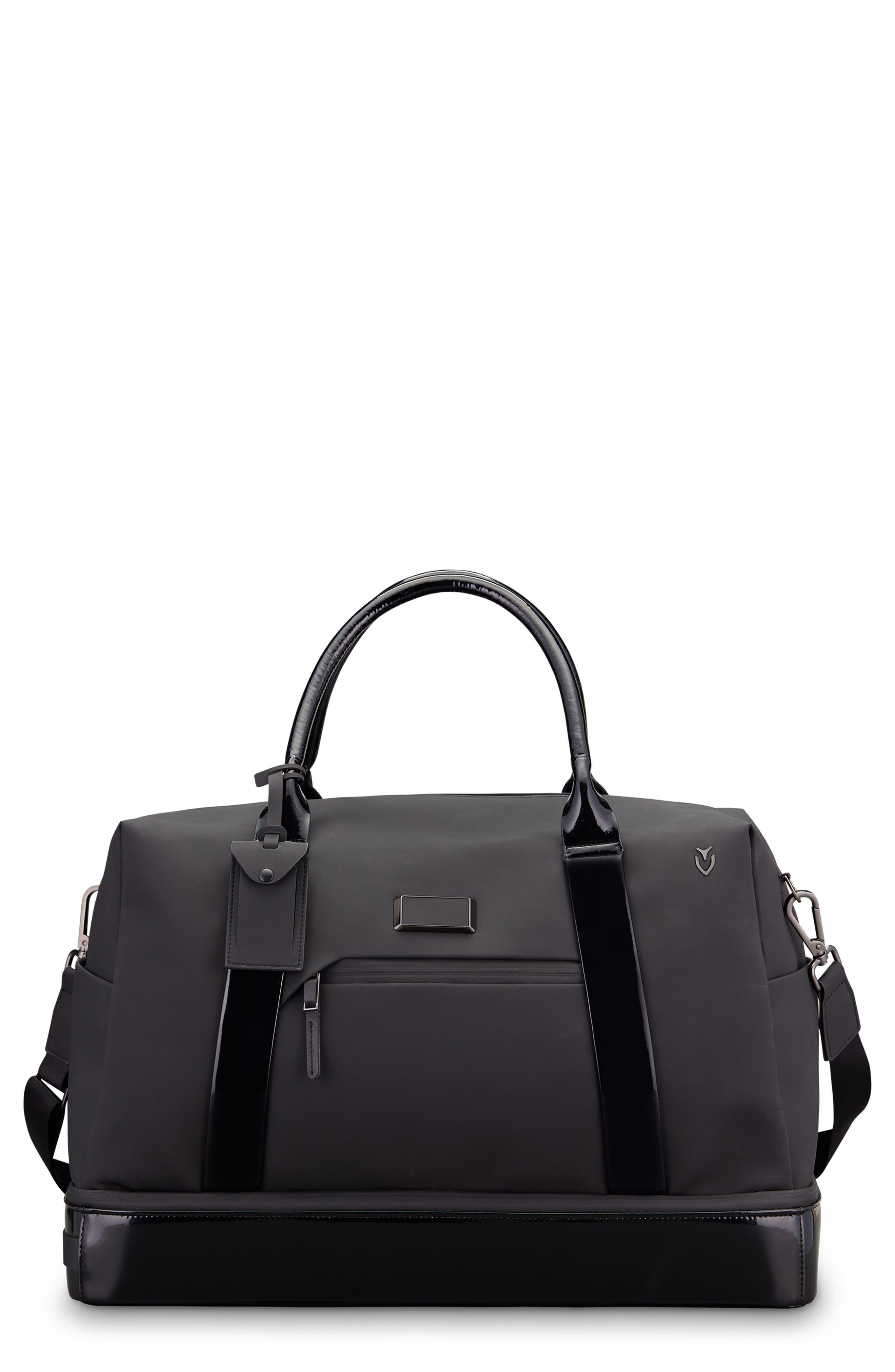 Signature 2.0 Boston Faux Leather Duffel Bag,                         Main,                         color, MATTE/ PATENT BLACK