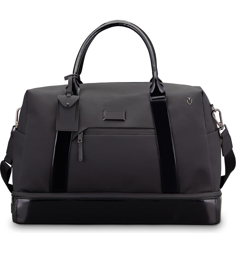 Signature 2.0 Boston Faux Leather Duffel Bag,                         Main,                         color, MATTE/ PATENT BLACK