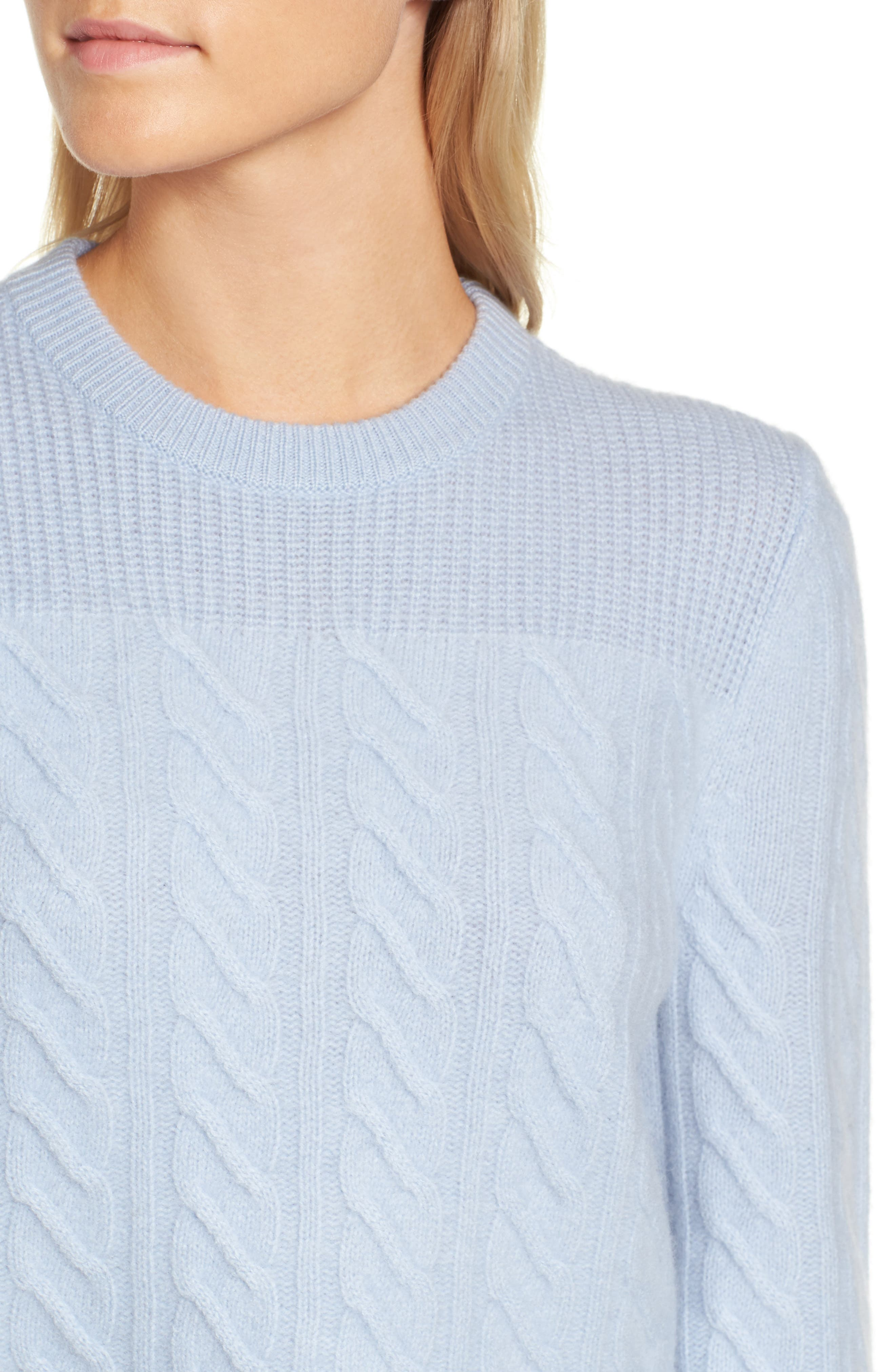 Cable Cashmere Sweater,                             Alternate thumbnail 4, color,