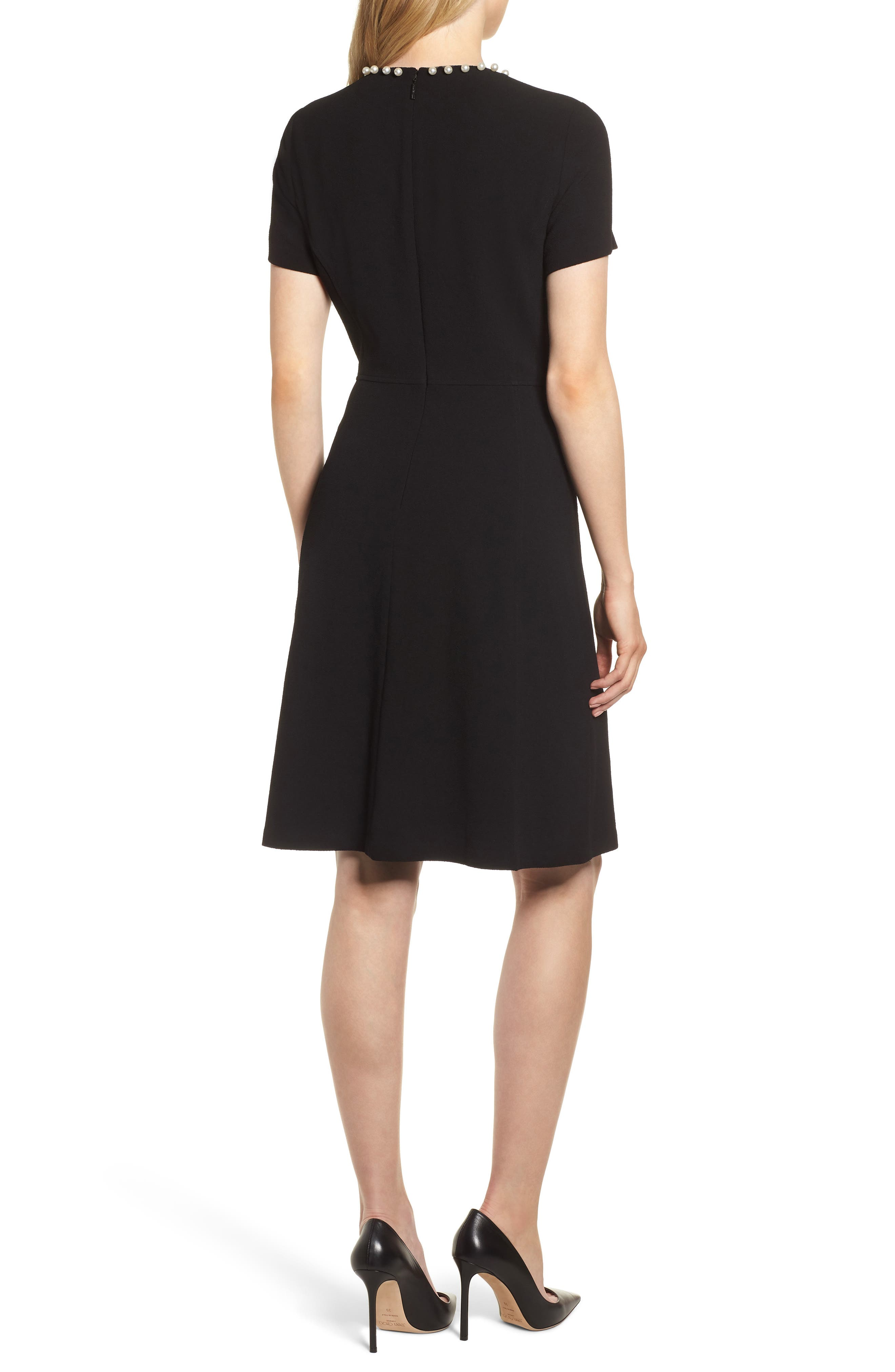 KARL LAGERFELD PARIS,                             Pearly Necklace Fit & Flare Dress,                             Alternate thumbnail 2, color,                             001