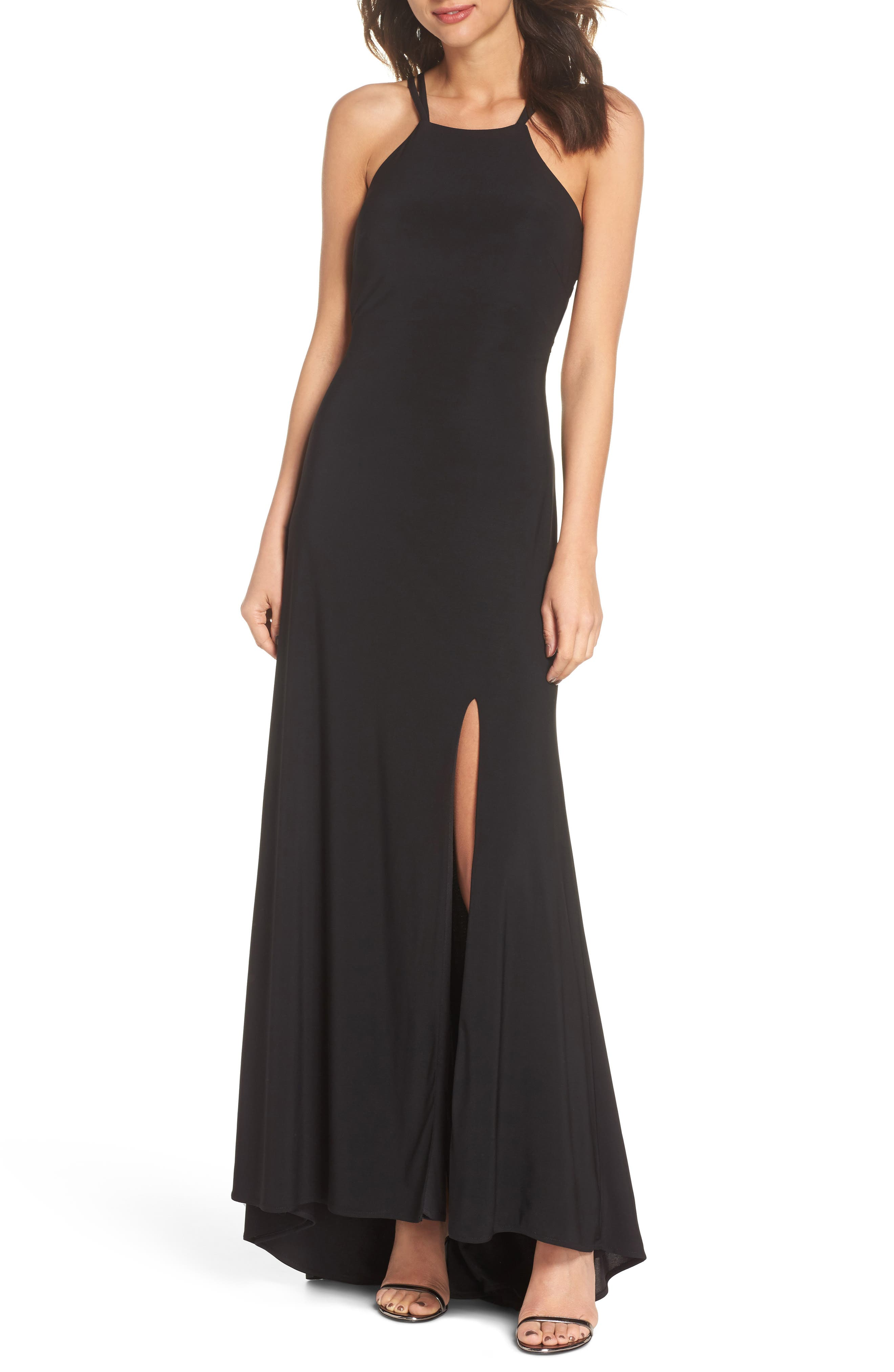 Strappy Trumpet Gown,                             Main thumbnail 1, color,                             BLACK