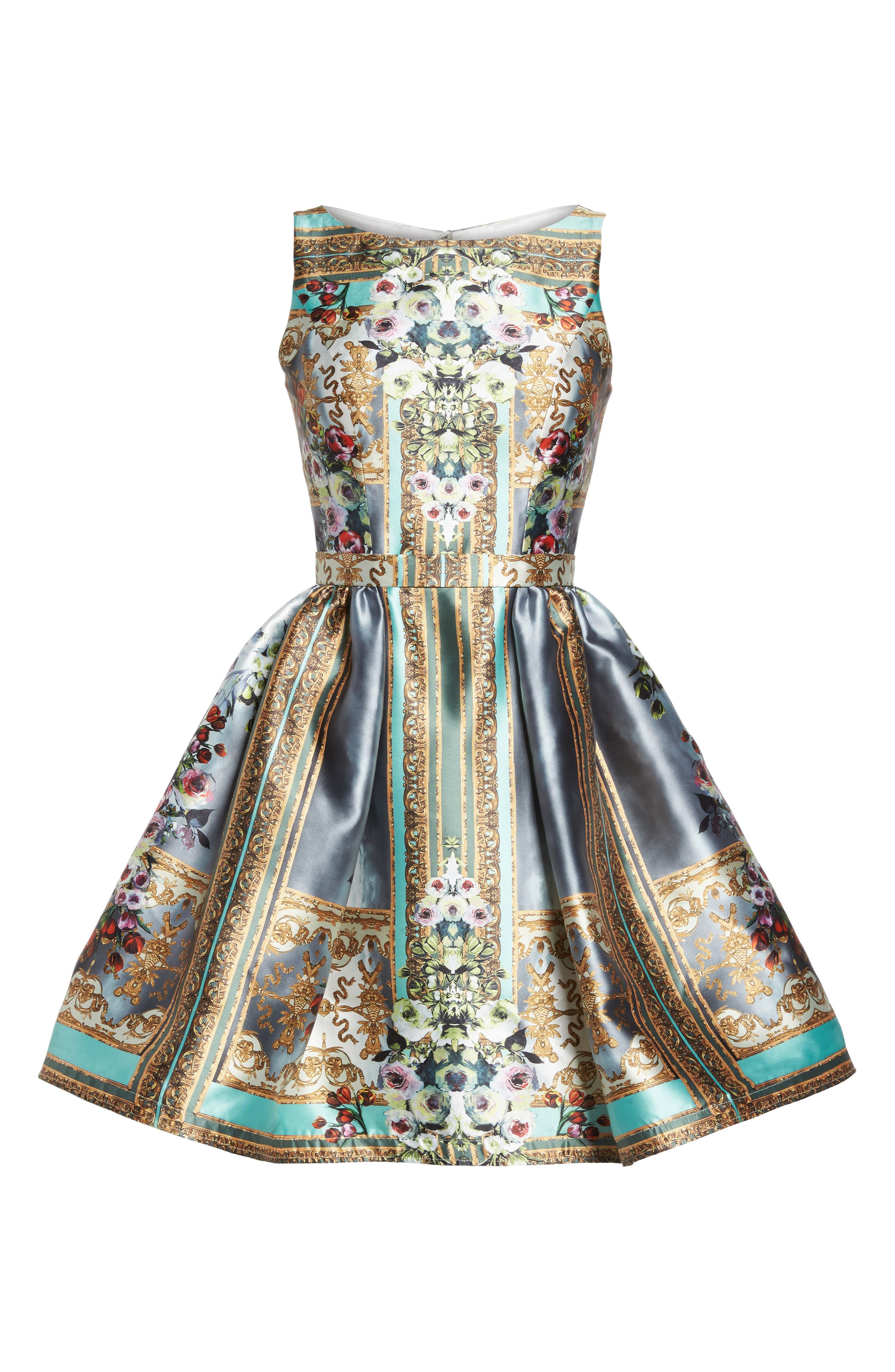 Mirror Fit & Flare Dress,                             Alternate thumbnail 6, color,