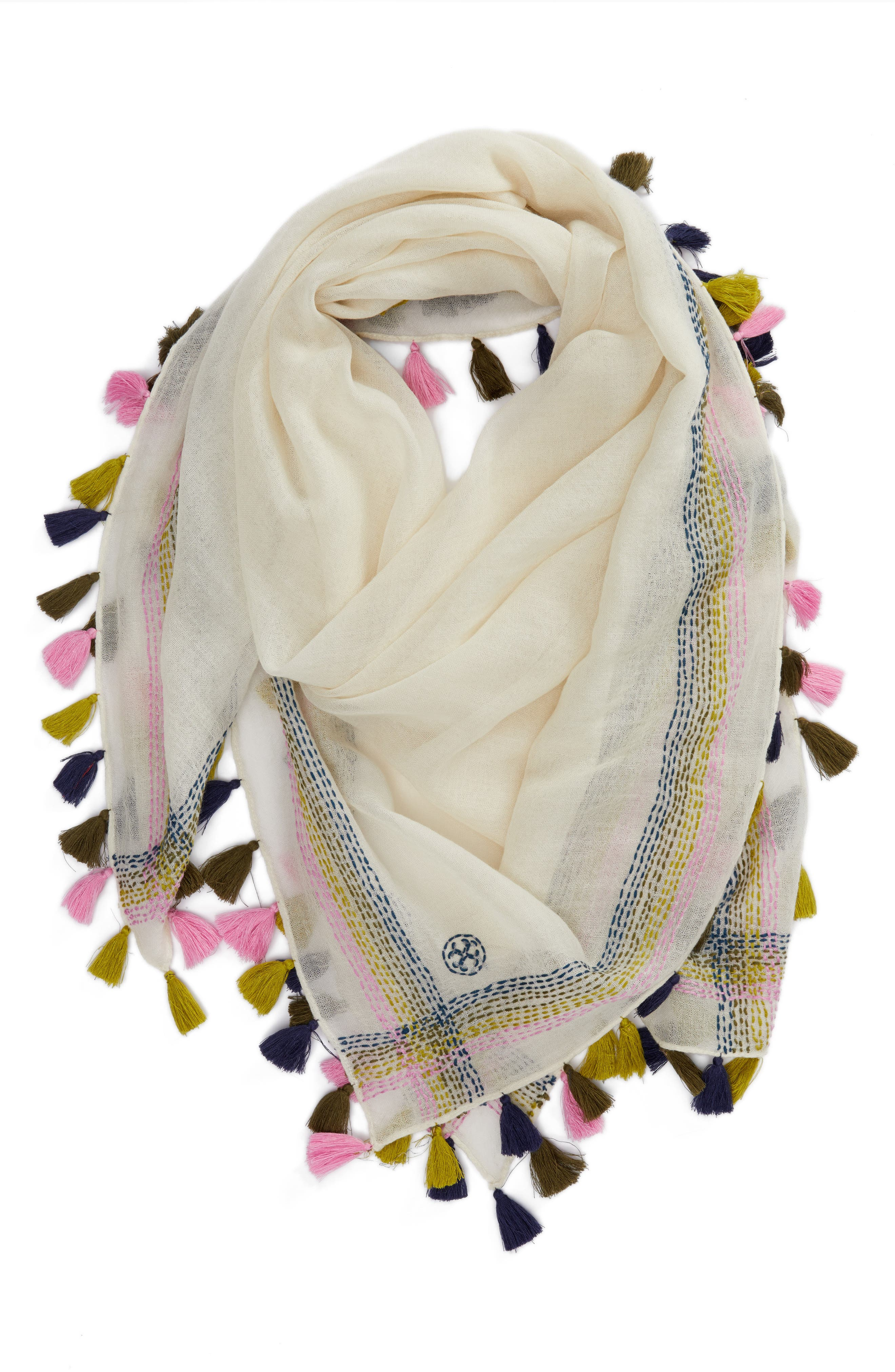 Embroidered Tassel Trim Wool Scarf,                             Alternate thumbnail 4, color,