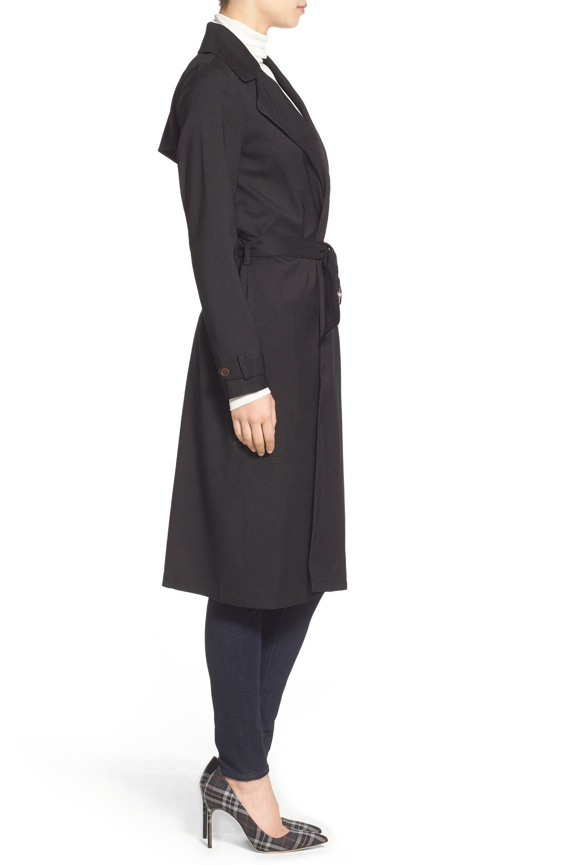 Belted Crepe Trench Coat,                             Alternate thumbnail 4, color,                             001