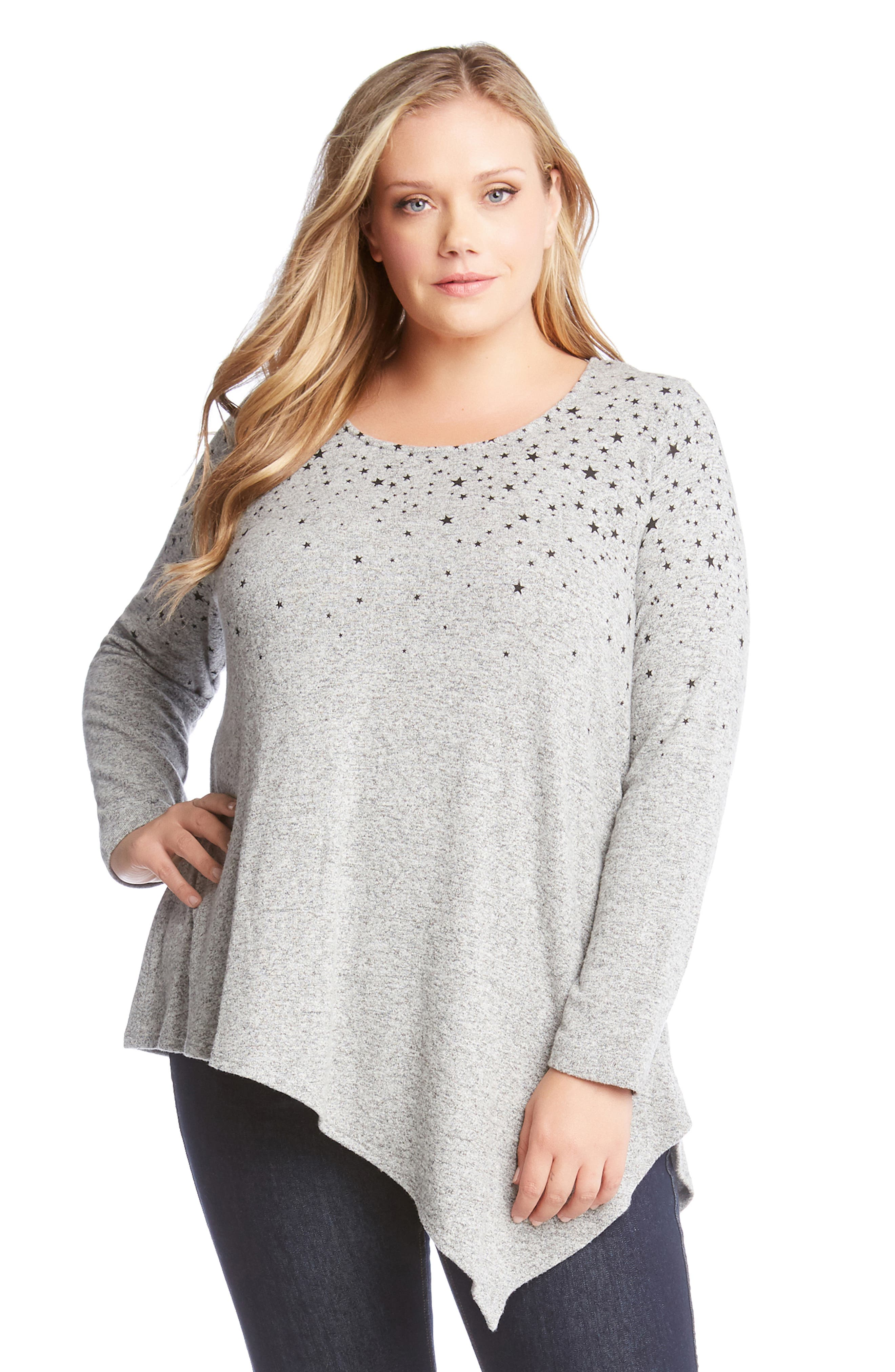 KAREN KANE,                             Asymmetrical Star Print Sweater,                             Alternate thumbnail 3, color,                             020