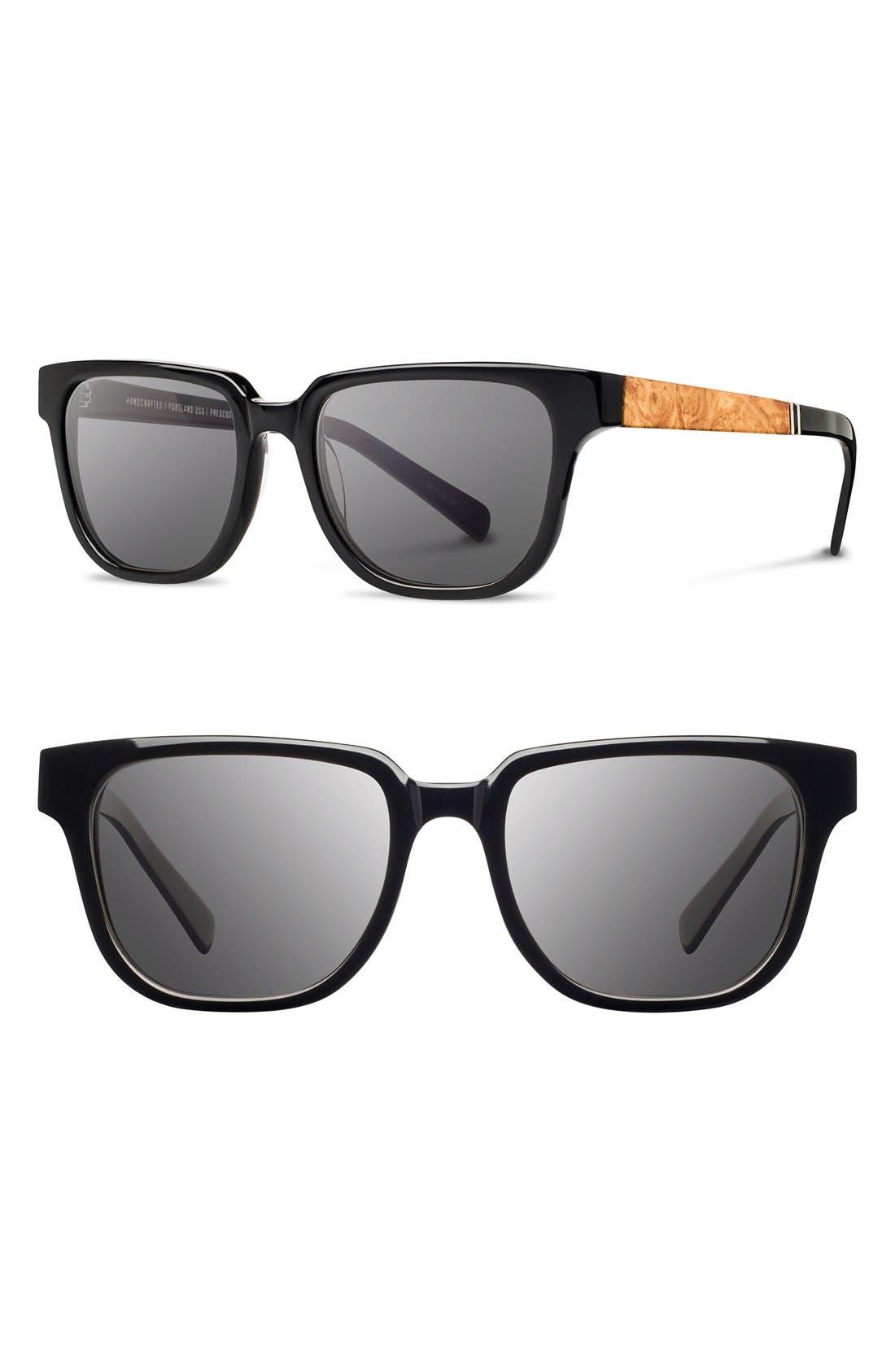 'Prescott' 52mm Polarized Acetate & Wood Sunglasses,                             Main thumbnail 1, color,                             001