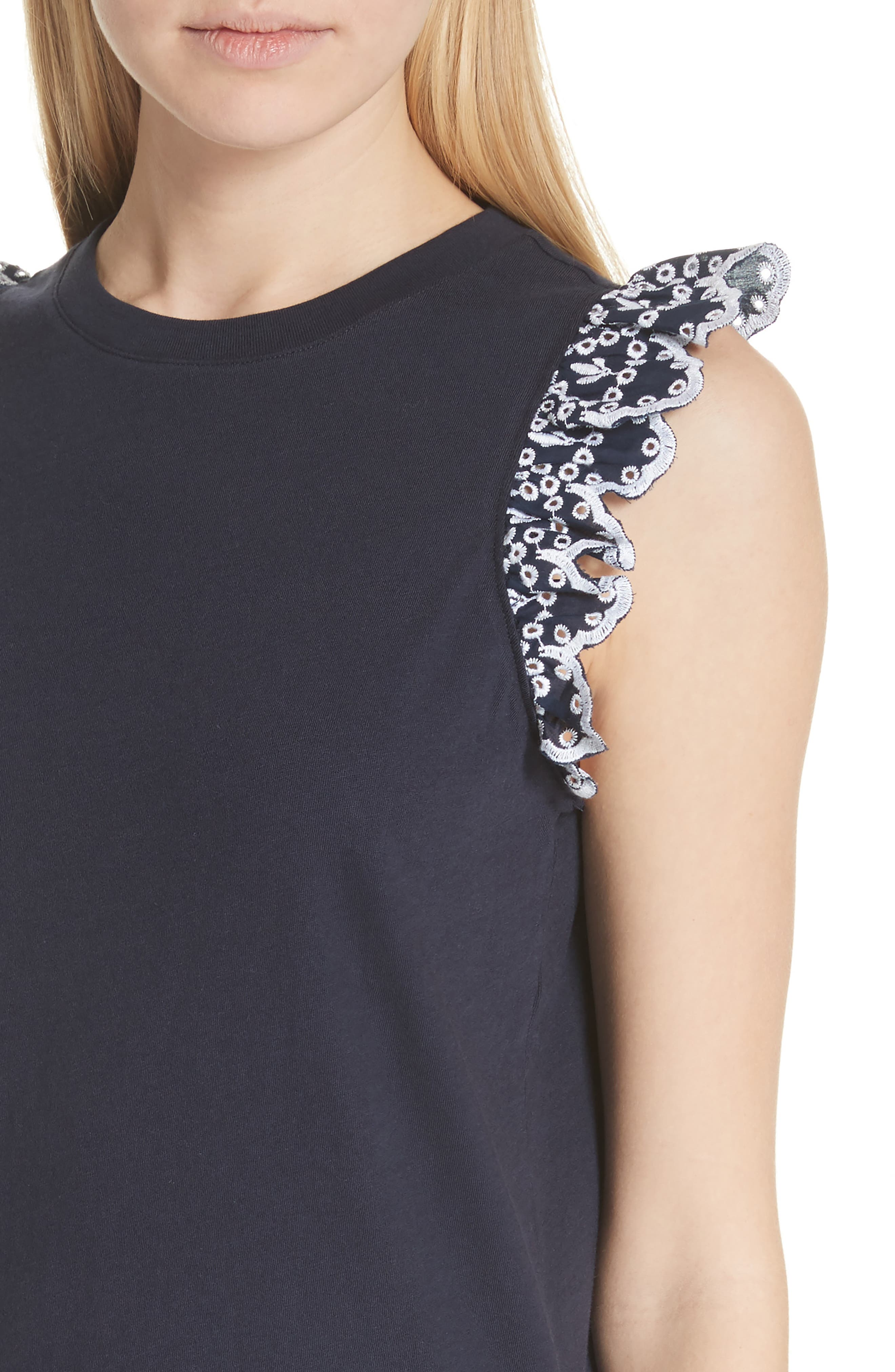eyelet trim tee,                             Alternate thumbnail 4, color,                             473