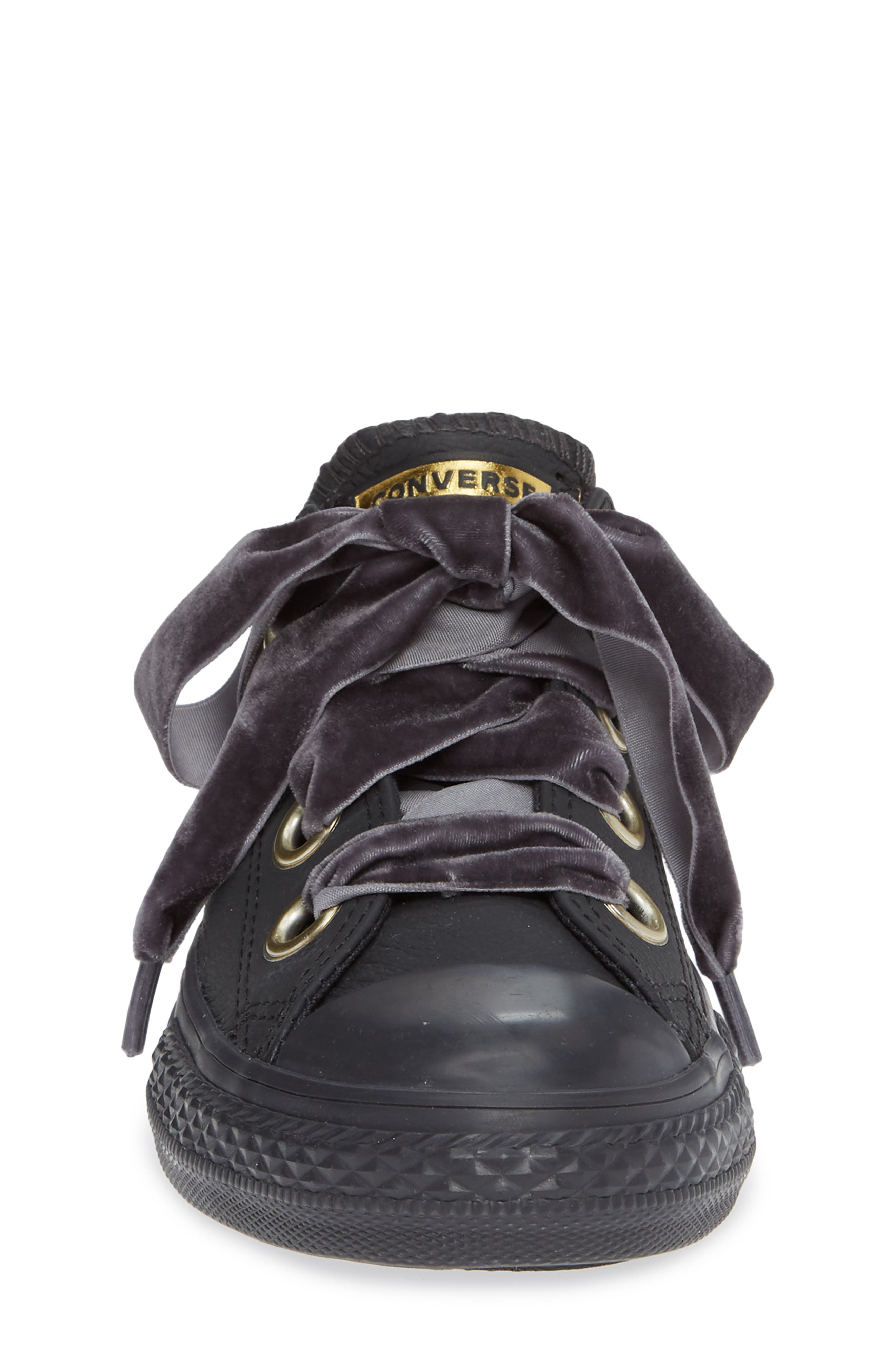 Chuck Taylor<sup>®</sup> All Star<sup>®</sup> Big Eyelet Leather Sneaker,                             Alternate thumbnail 4, color,                             BLACK