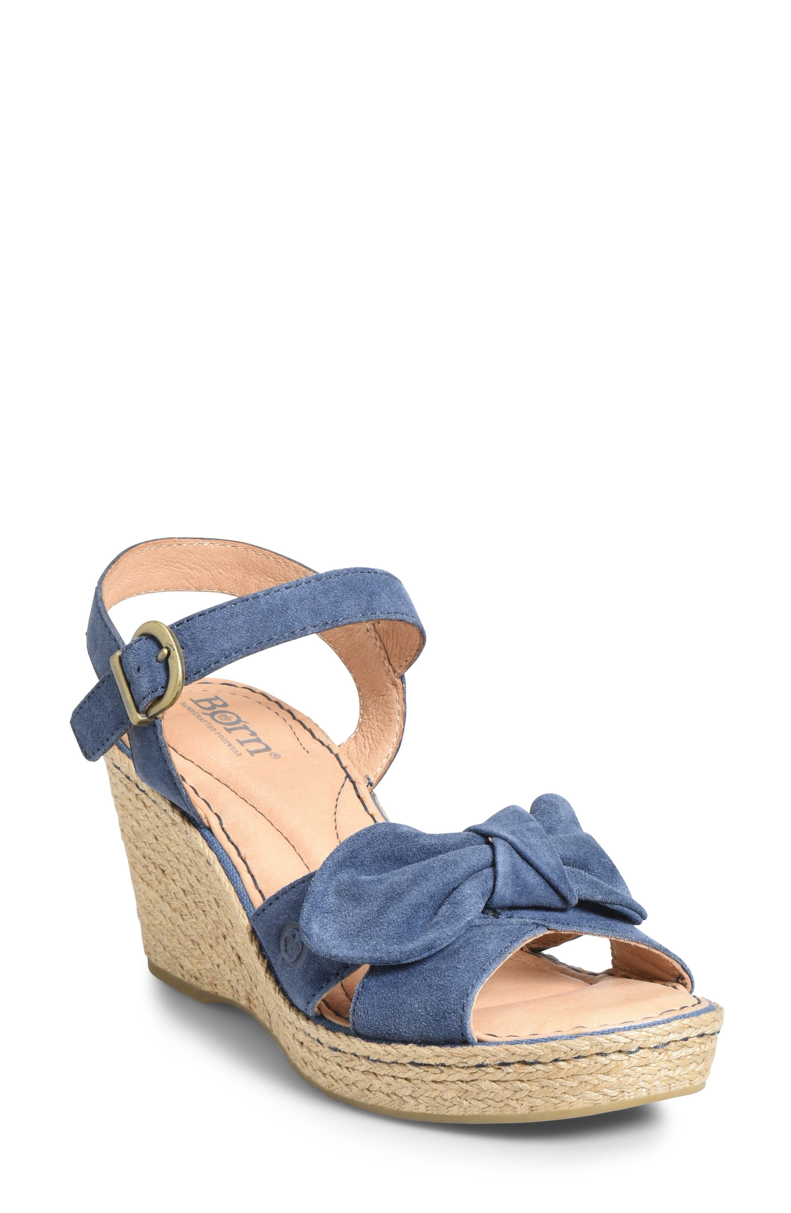 B?rn Monticello Knotted Wedge Sandal, Blue