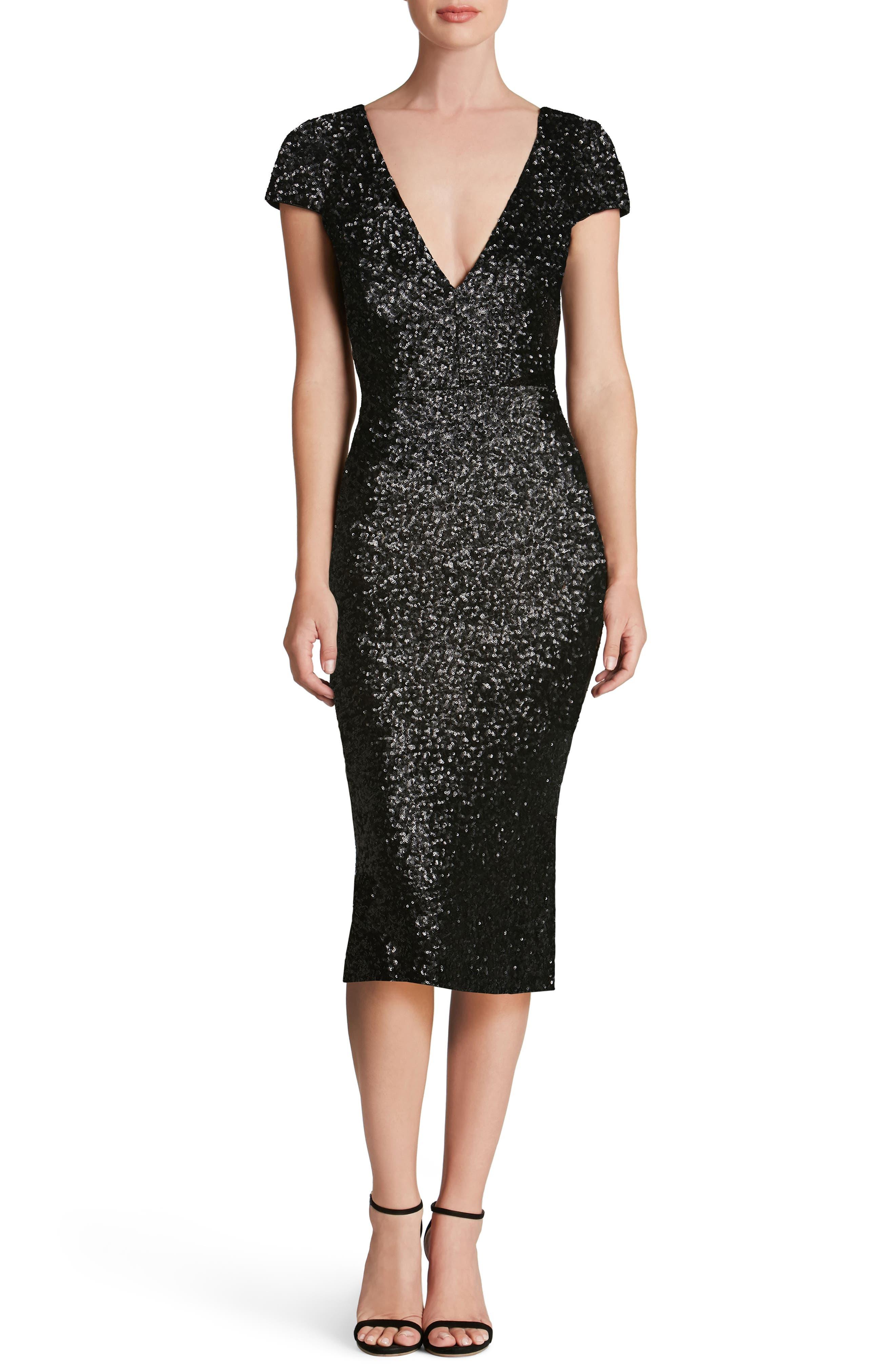 DRESS THE POPULATION Allison Sequin Sheath Dress, Main, color, 008