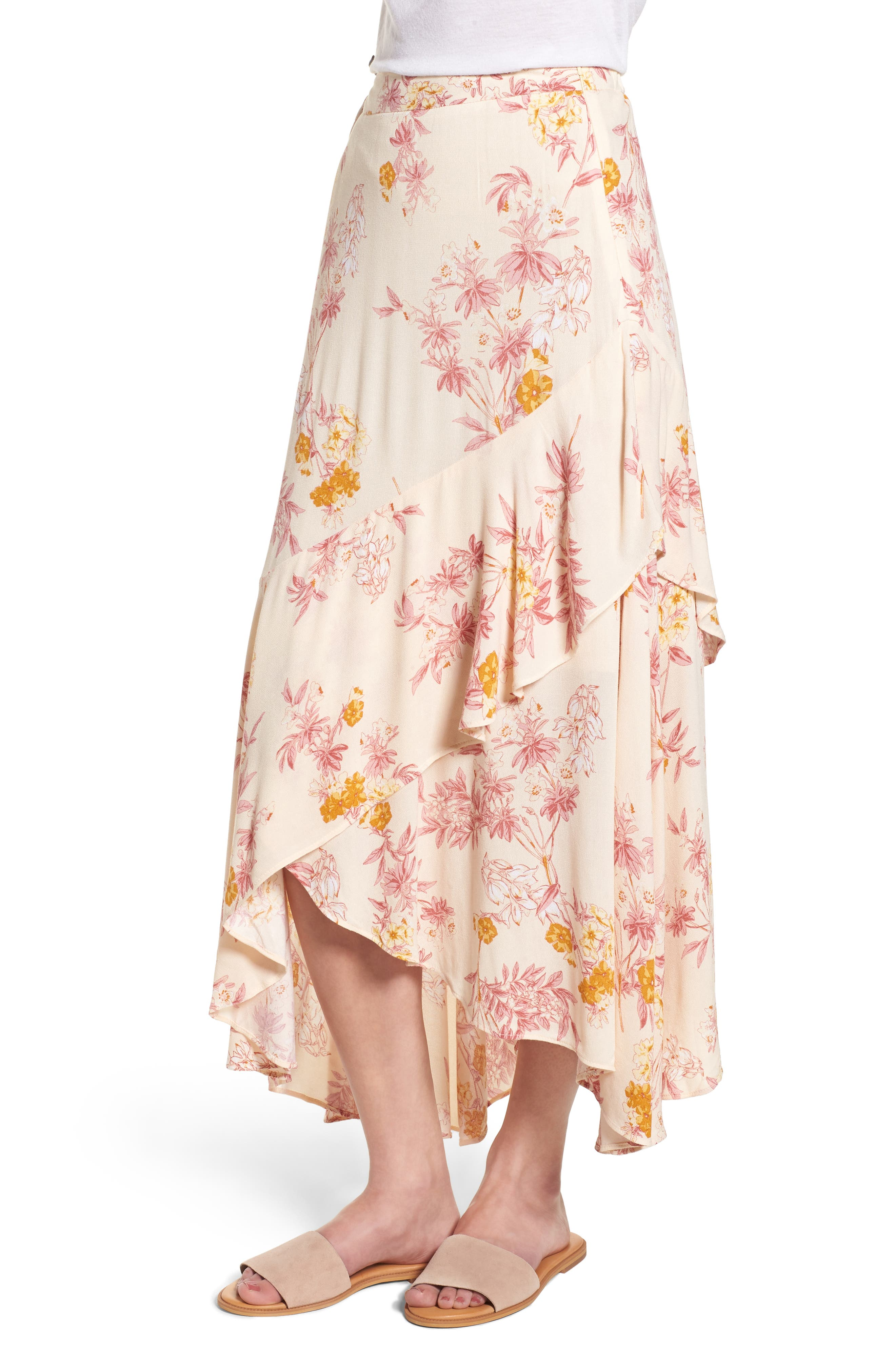Print High/Low Midi Skirt,                             Alternate thumbnail 3, color,                             260