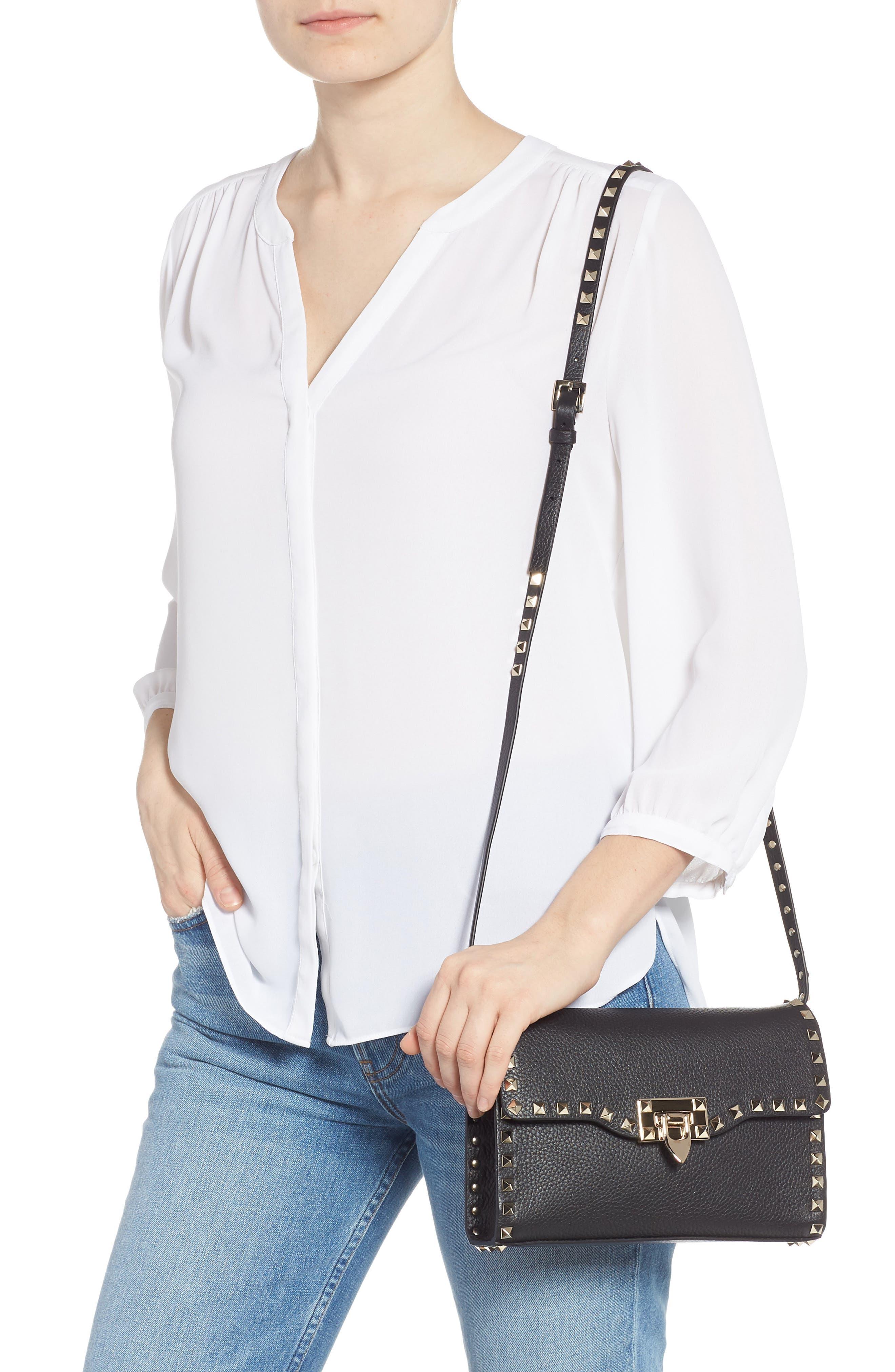 Medium Rockstud Leather Crossbody Bag,                             Alternate thumbnail 2, color,                             BLACK