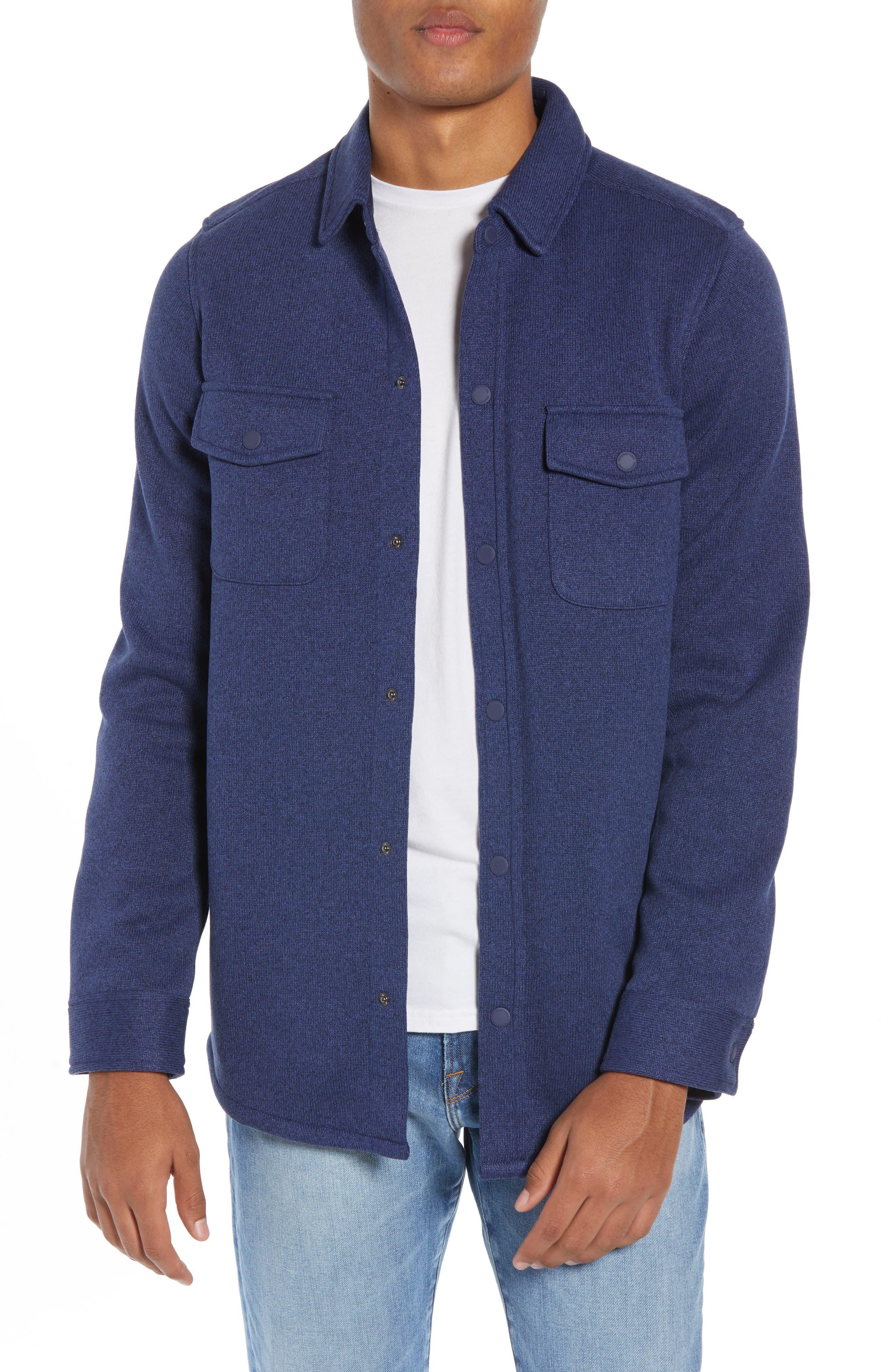 Knit Regular Fit Shirt Jacket,                         Main,                         color, DEEP BAY