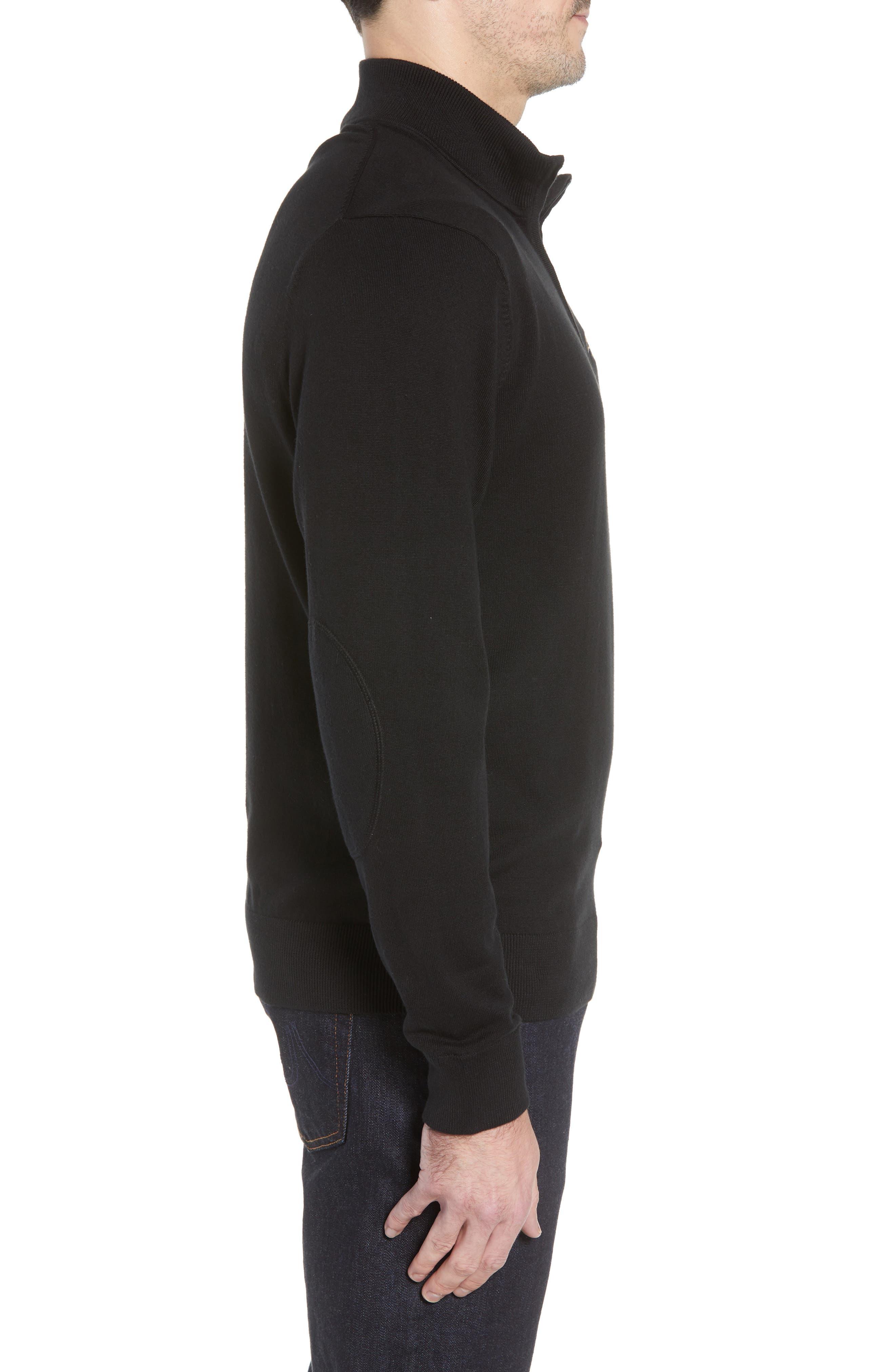 Baltimore Ravens - Lakemont Regular Fit Quarter Zip Sweater,                             Alternate thumbnail 3, color,                             BLACK