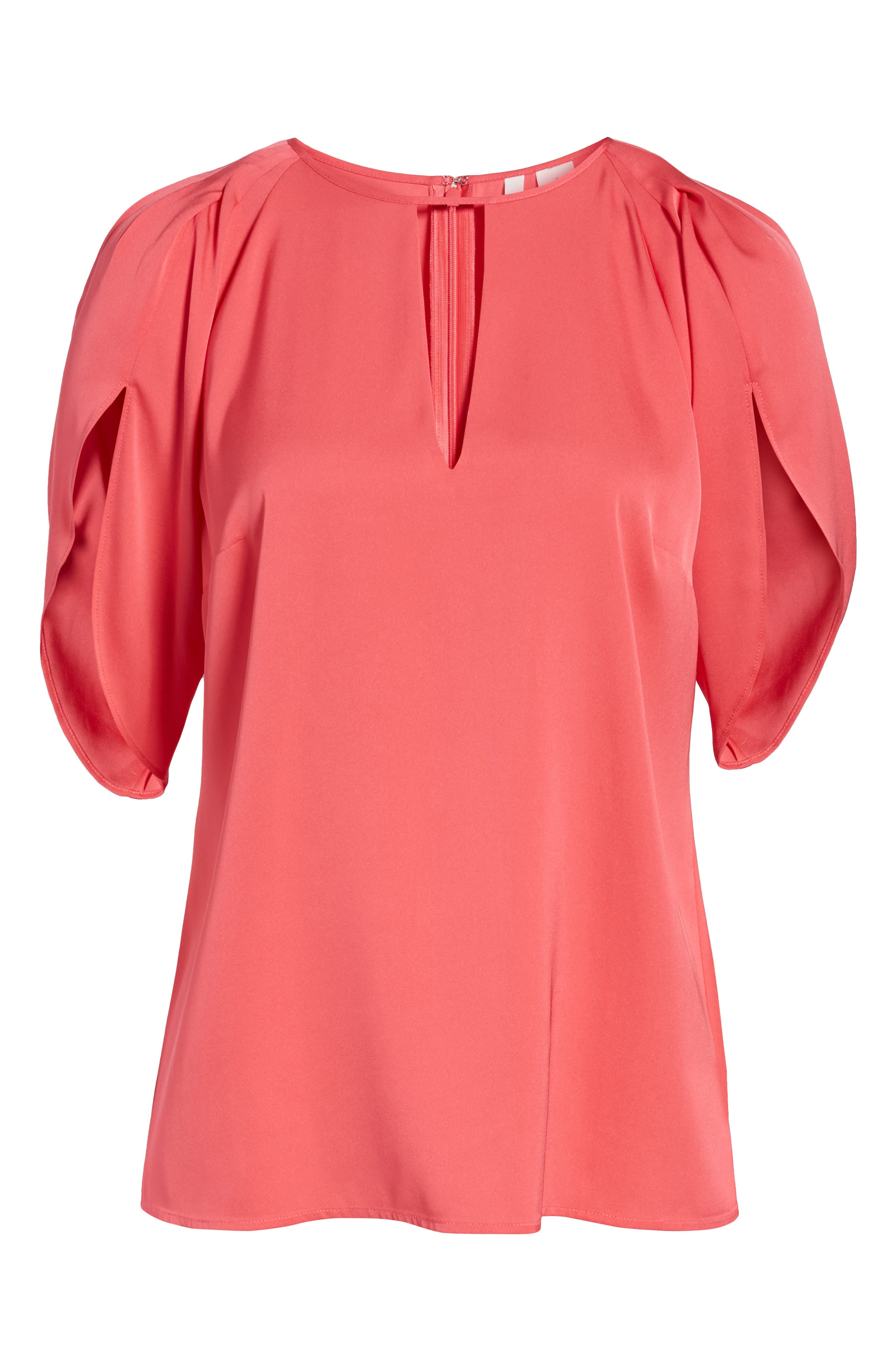Draped Sleeve Stretch Silk Top,                             Alternate thumbnail 25, color,