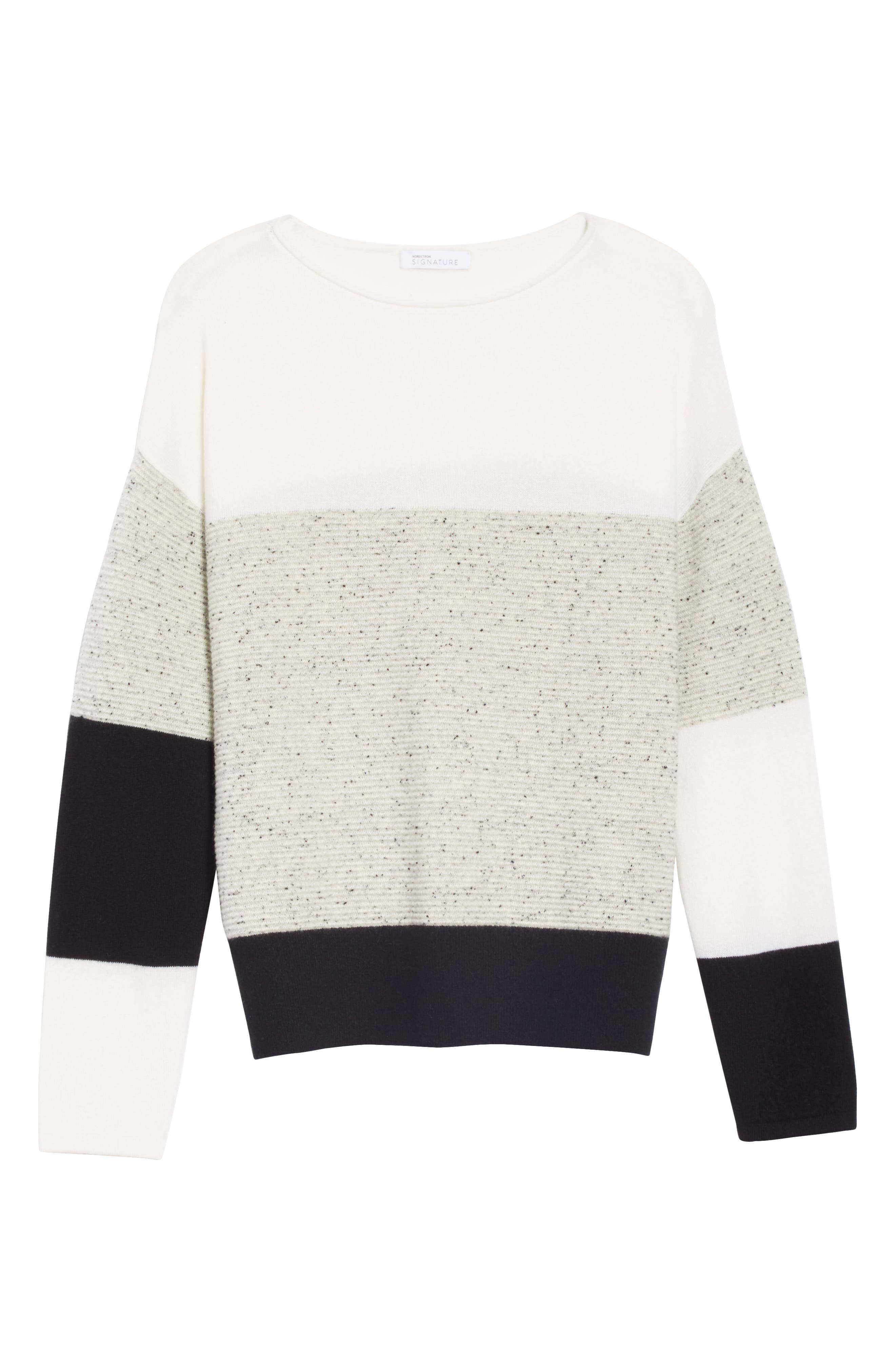 Colorblock Cashmere Sweater,                             Alternate thumbnail 6, color,                             IVORY SOFT MULTI COLOR BLOCK